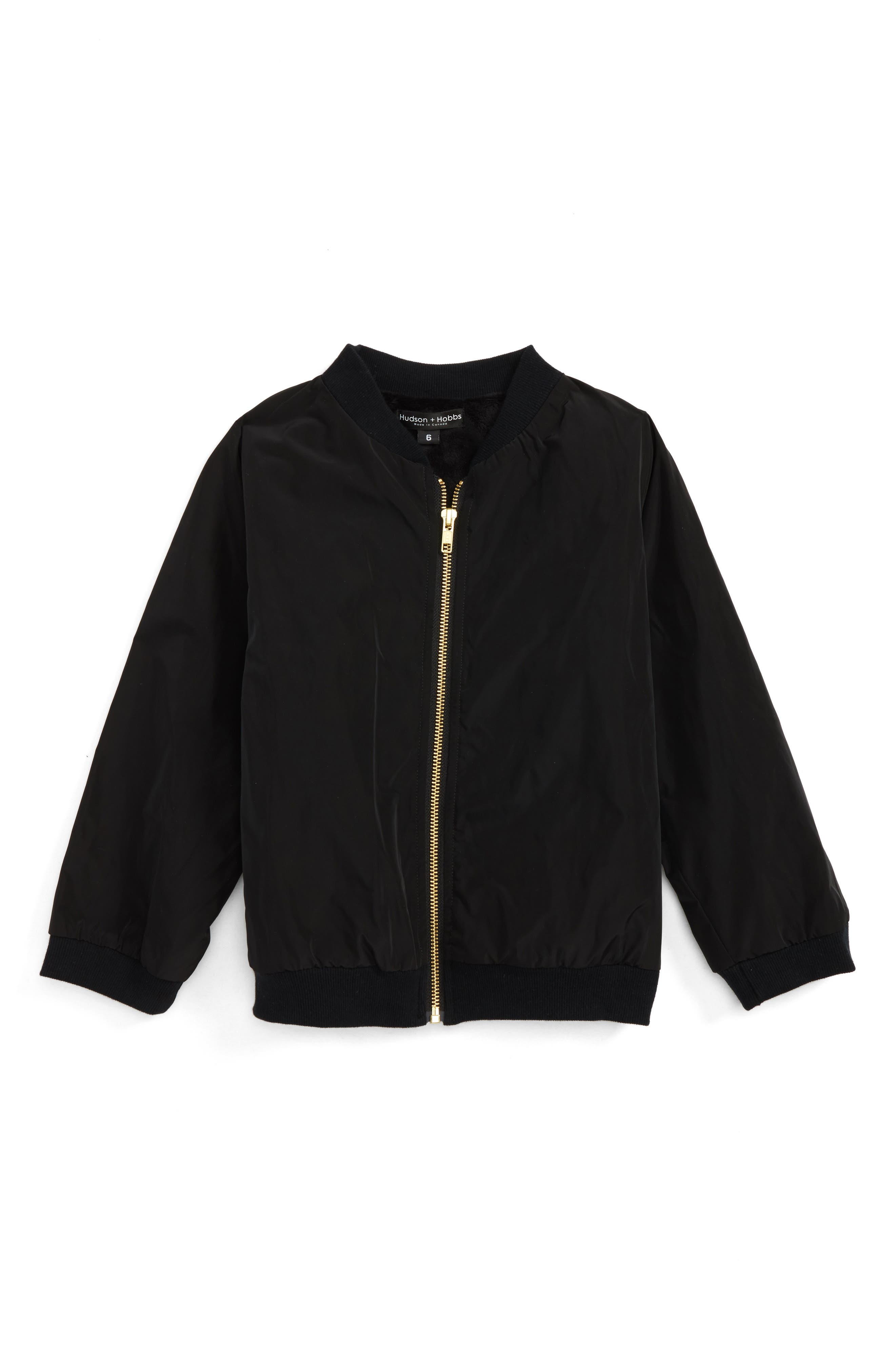 Cozy Waterproof Bomber Jacket,                             Main thumbnail 1, color,                             Black