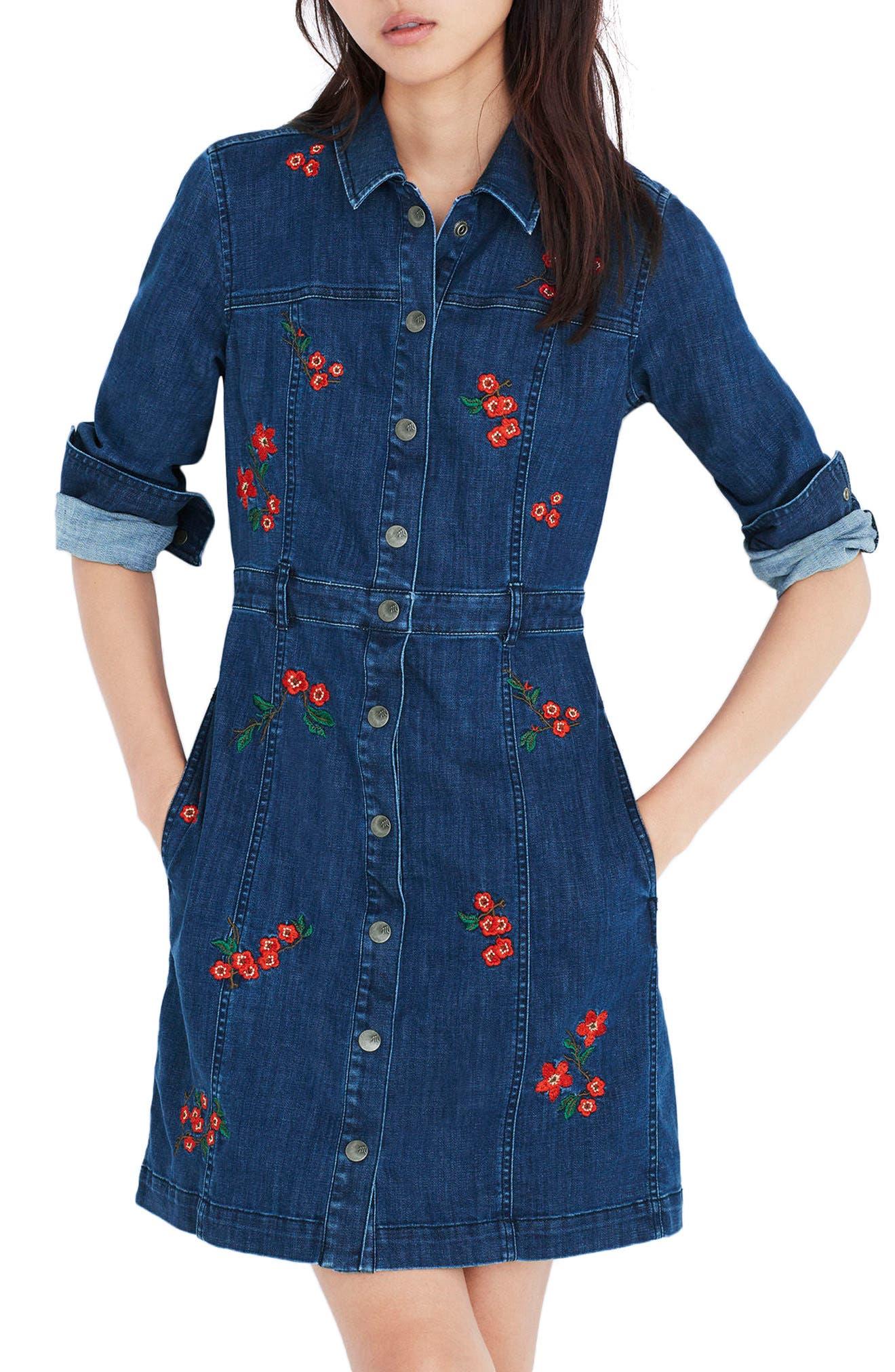Madewell Embroidered Denim A-Line Dress
