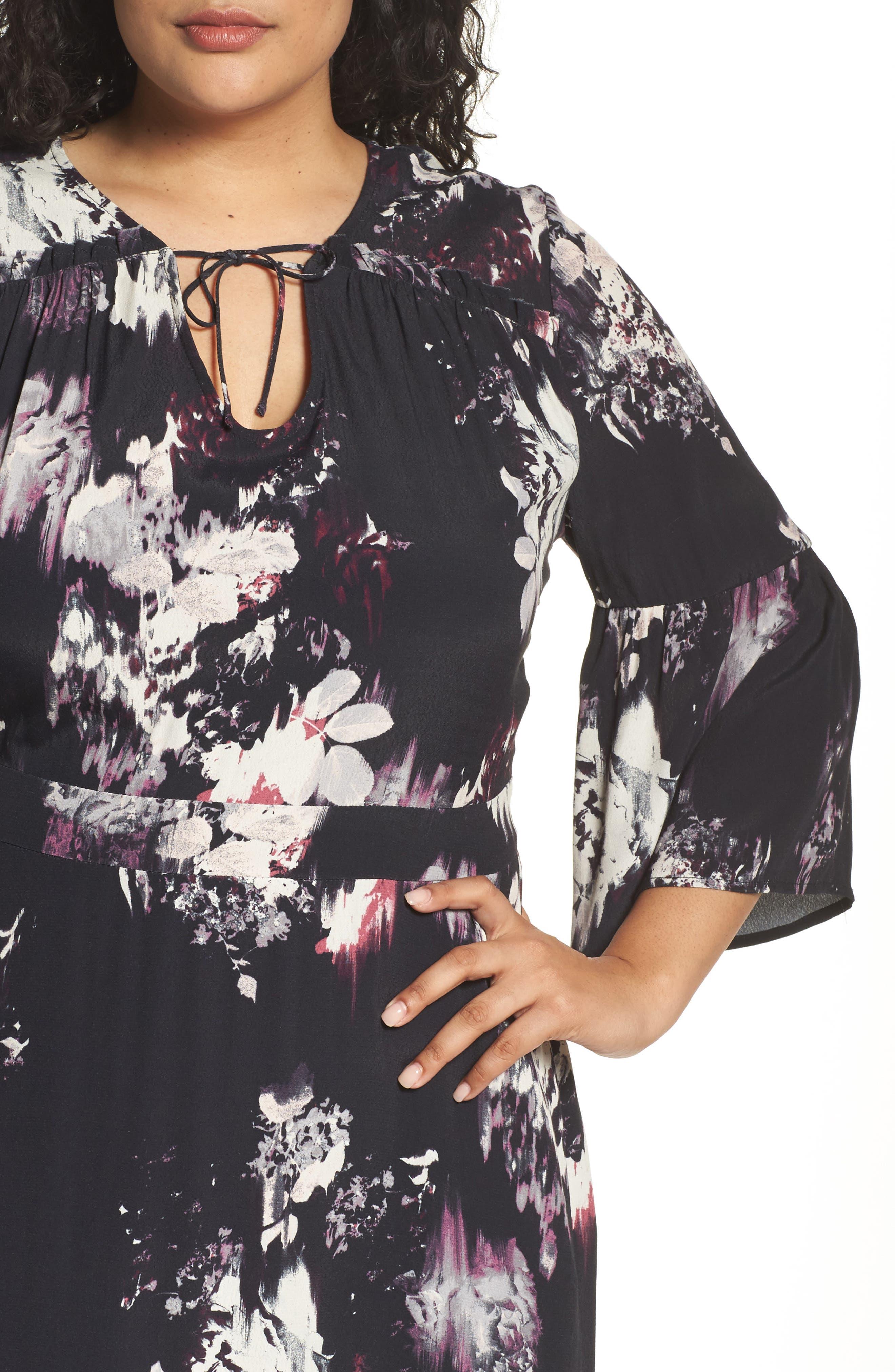Alternate Image 5  - Sejour Bell Sleeve A-Line Maxi Dress (Plus Size)