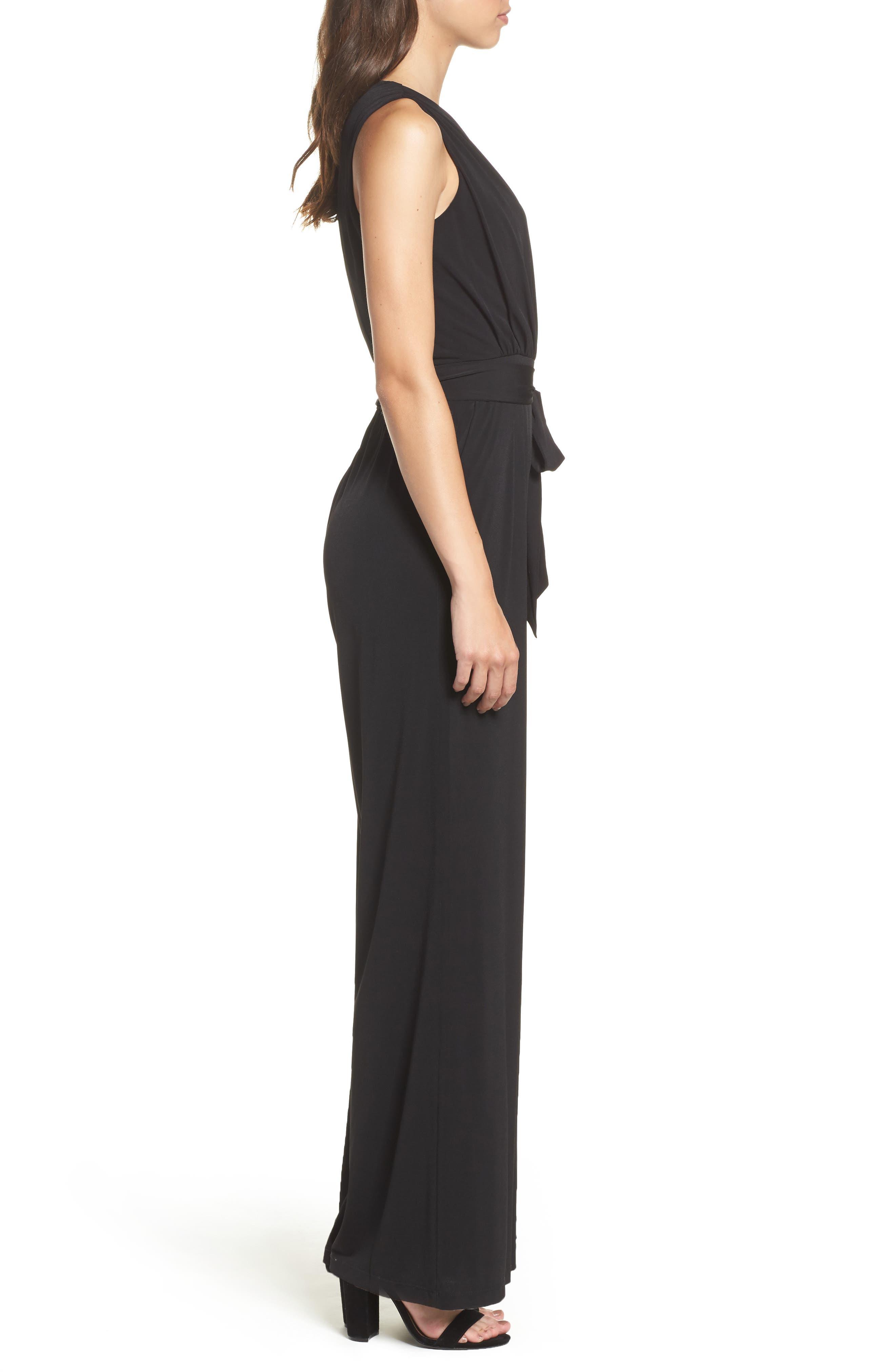 Faux Wrap Jersey Jumpsuit,                             Alternate thumbnail 3, color,                             Black