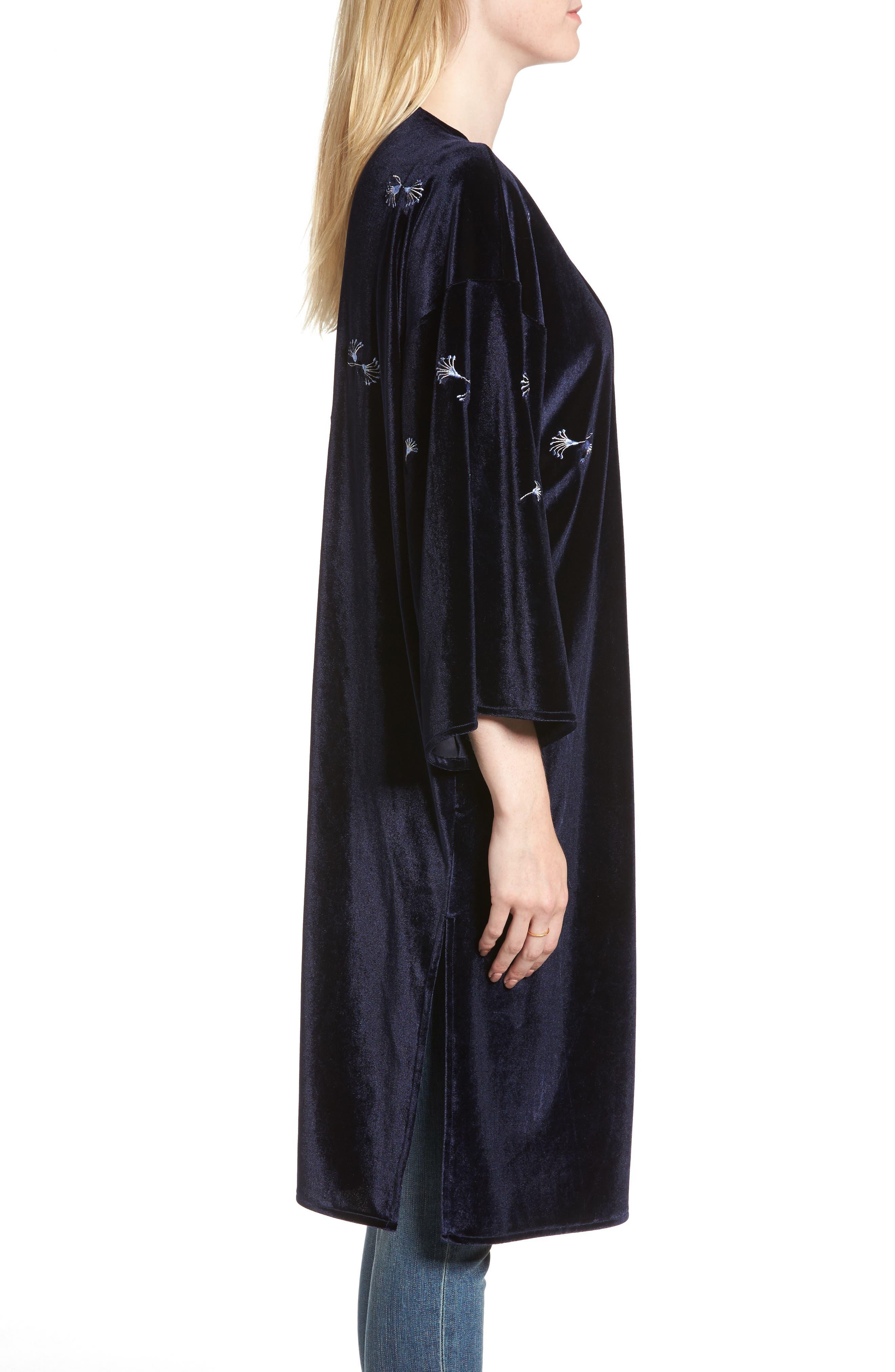 Alternate Image 3  - Treasure & Bond Embroidered Velvet Kimono