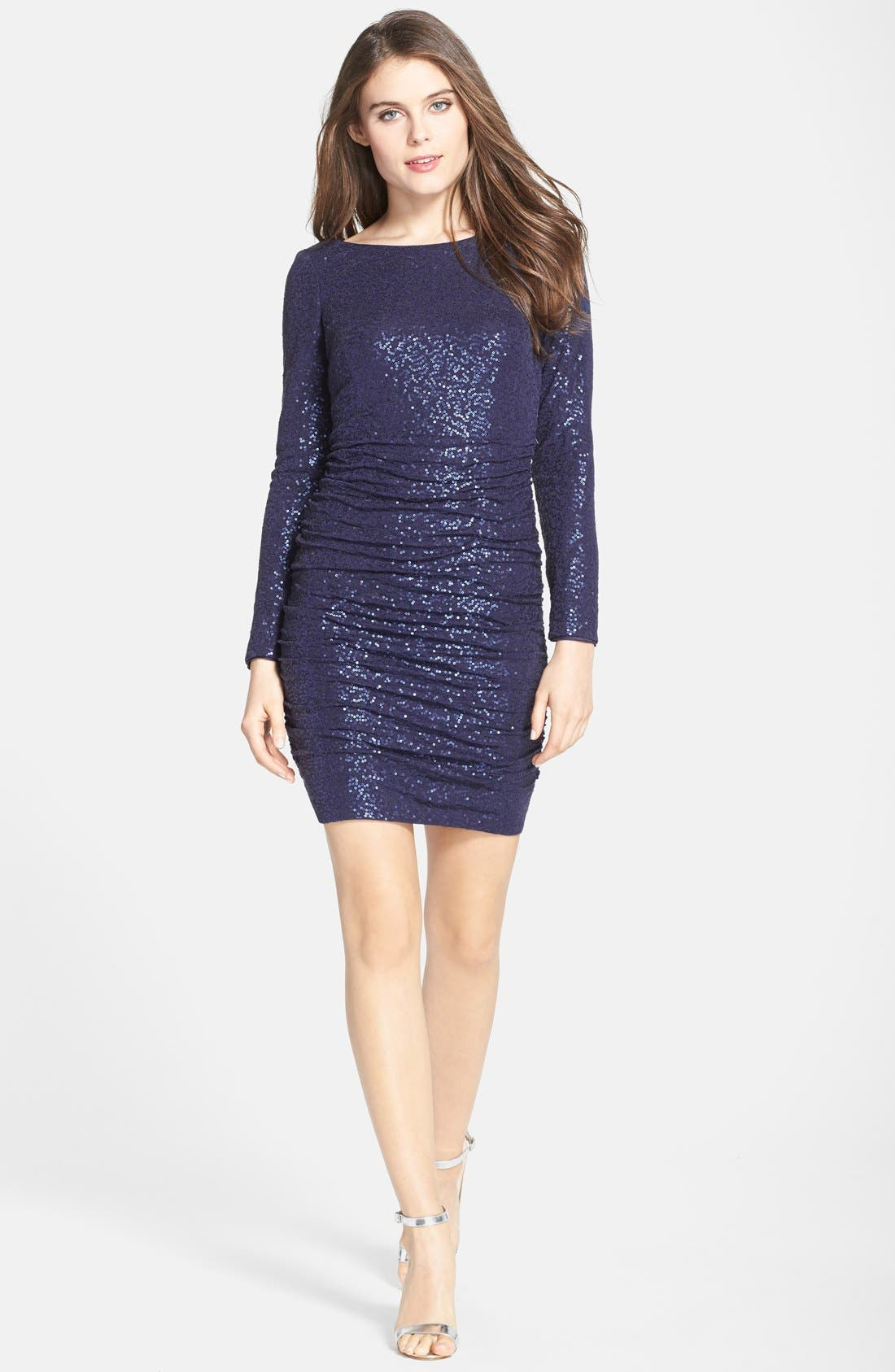 Alternate Image 3  - Aidan by Aidan Mattox Ruched Sequin Knit Dress