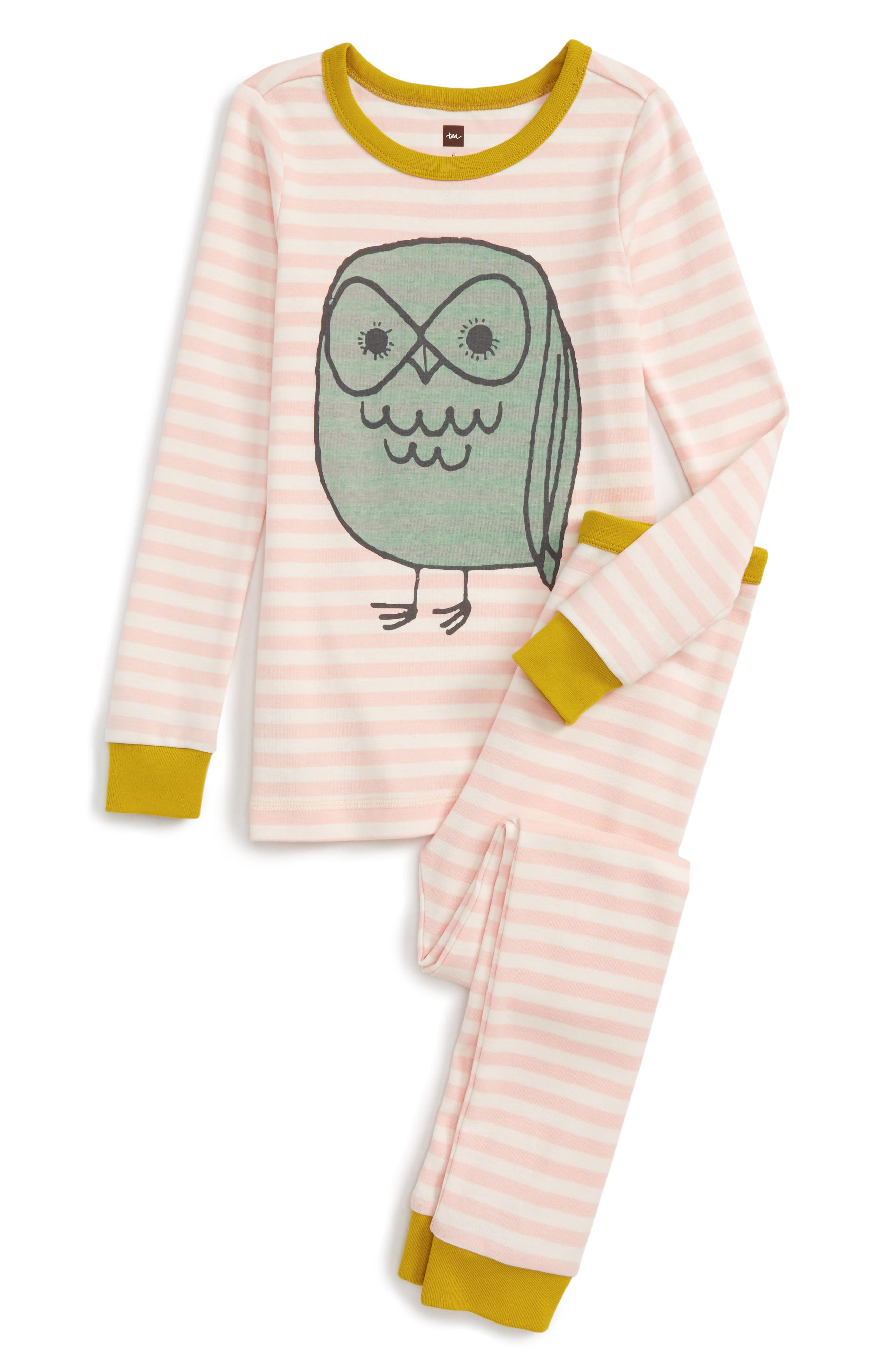 Tawny Owl Fitted Two-Piece Pajamas,                         Main,                         color, Soft Peach