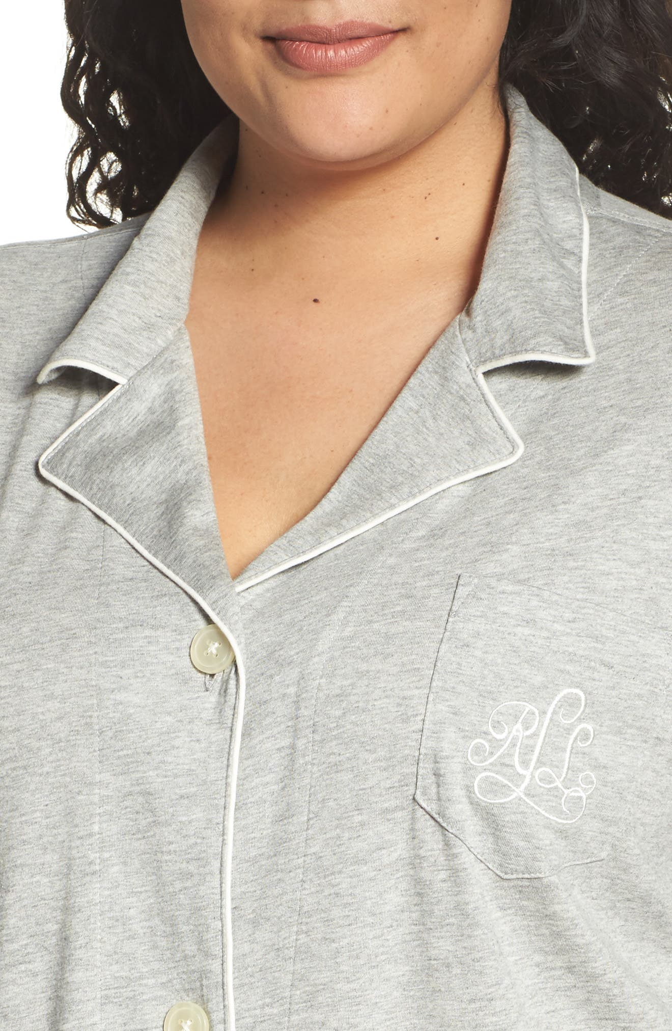 Alternate Image 4  - Lauren Ralph Lauren Knit Nightshirt (Plus Size) (Online Only)