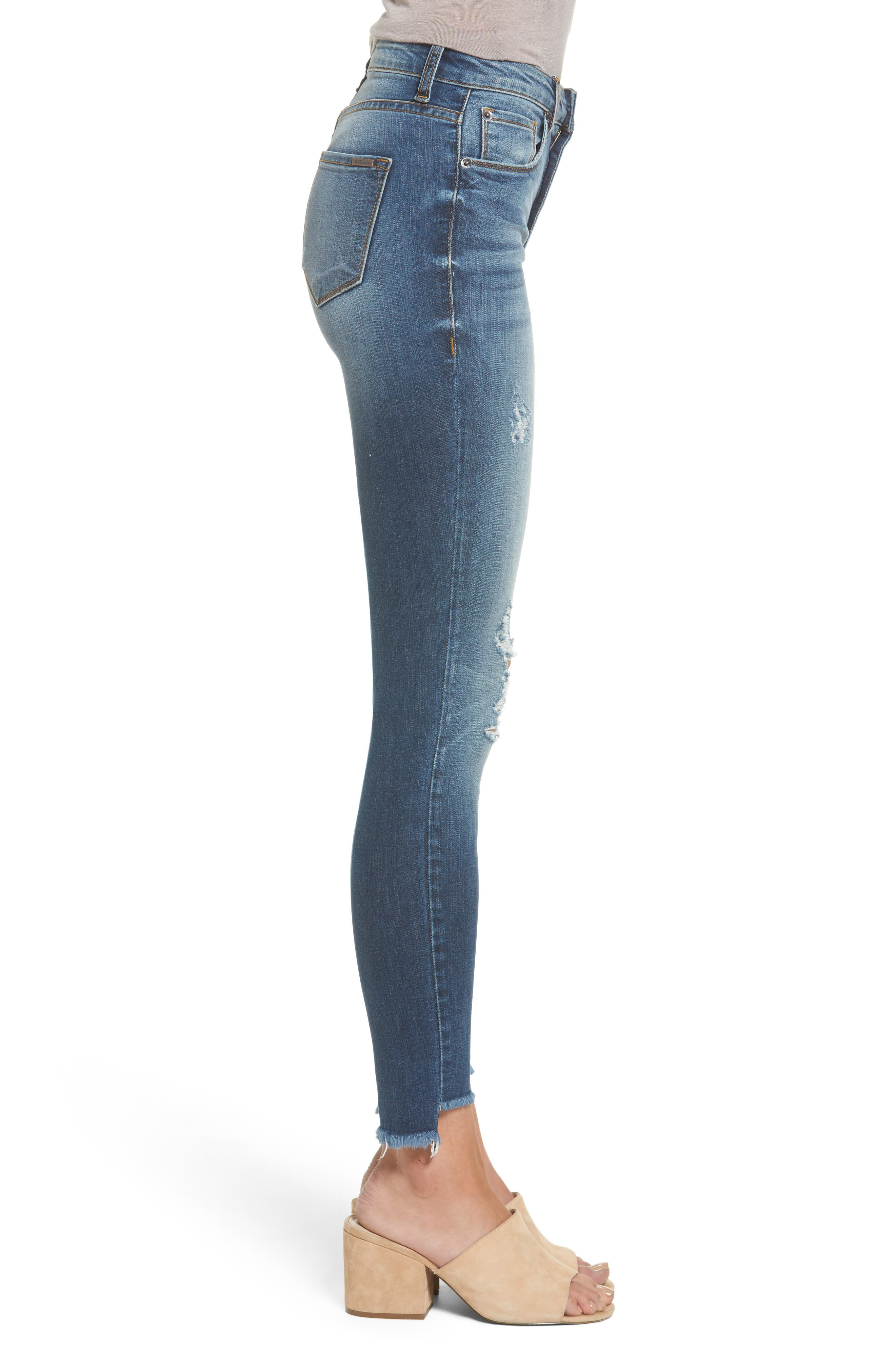 Alternate Image 3  - STS Blue Ellie Step Hem Ripped High Waist Skinny Jeans