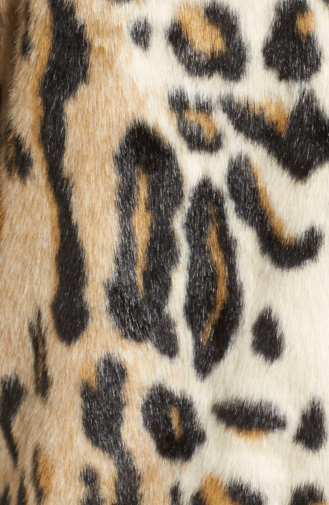 Leopard Spot Reversible Faux Fur Coat,                             Alternate thumbnail 5, color,                             Leopard