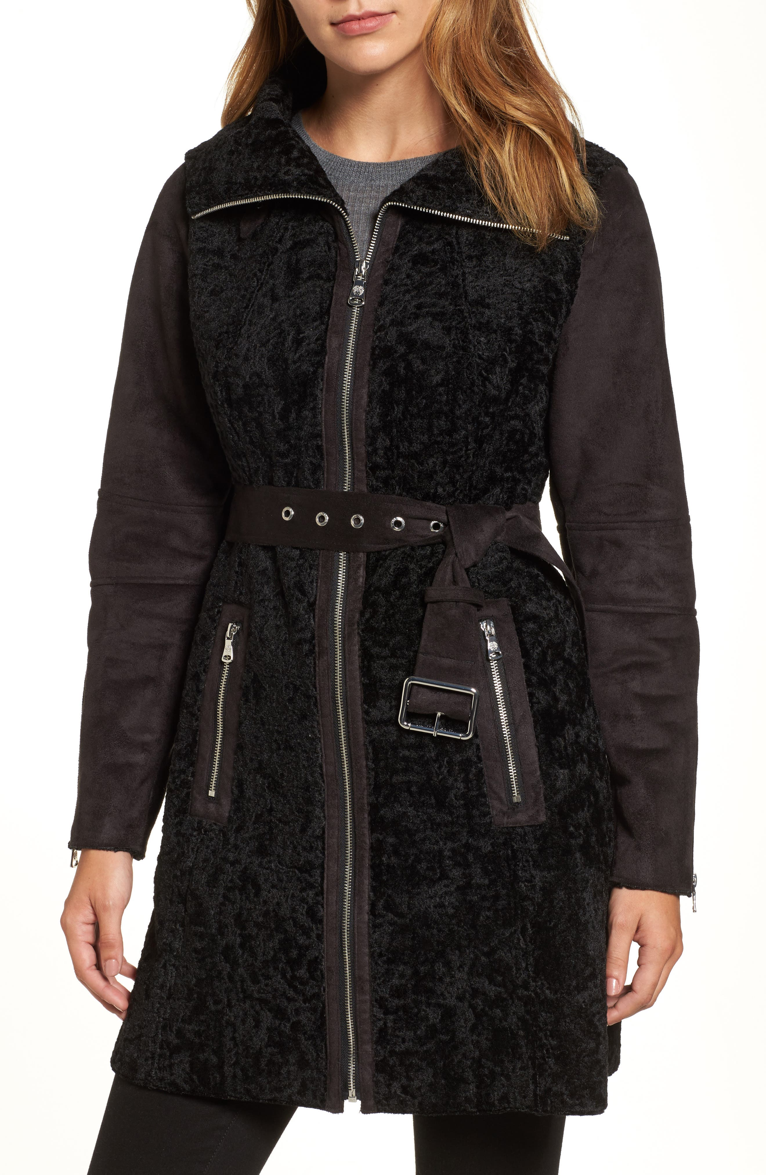 Faux Shearling Coat,                         Main,                         color, Black