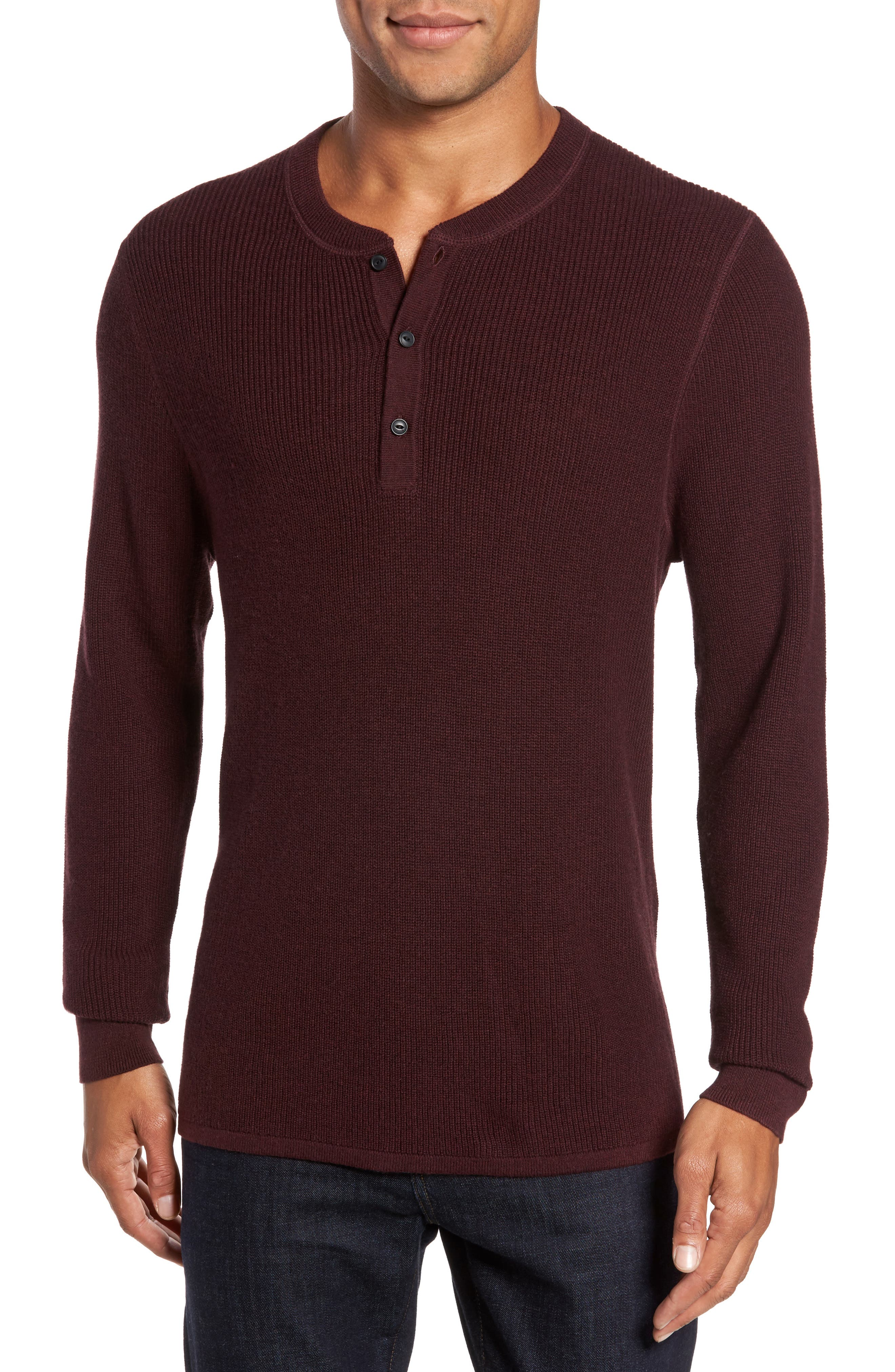 Cotton & Cashmere Henley Sweater,                             Main thumbnail 1, color,                             Burgundy Fudge Heather