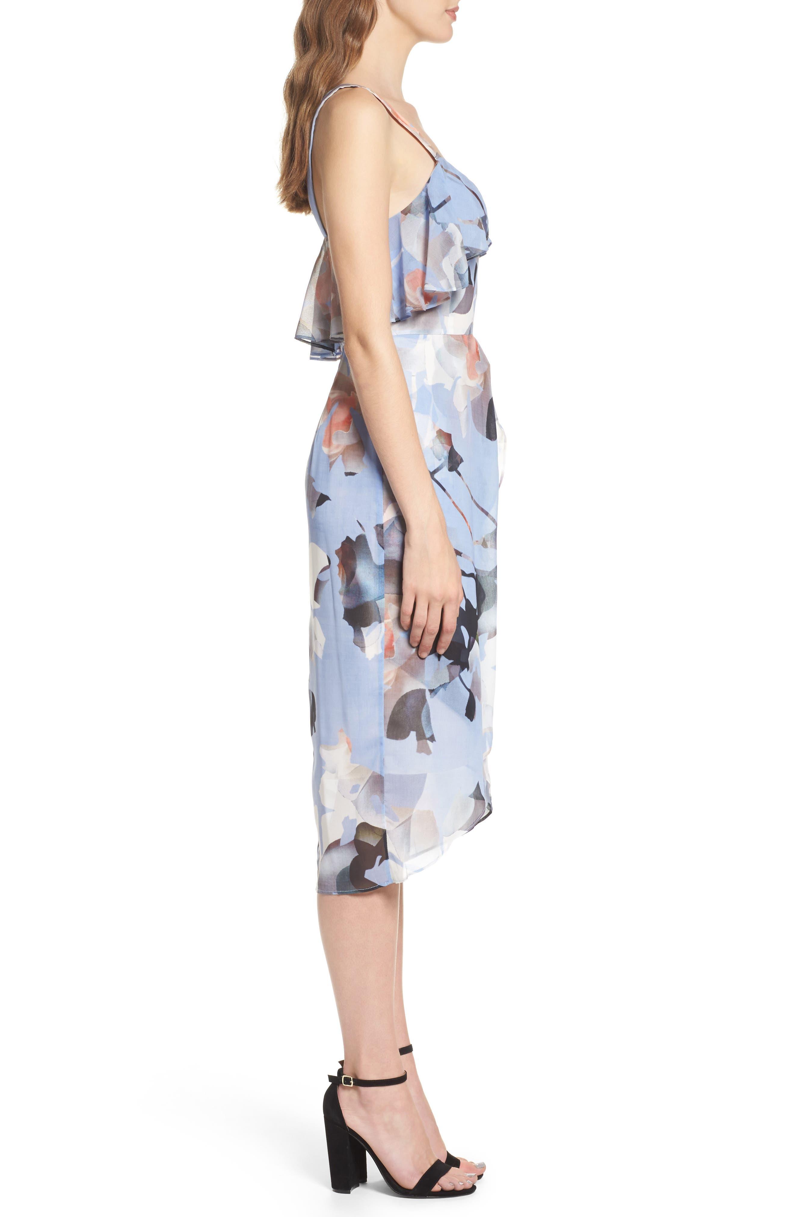 Elle Midi Dress,                             Alternate thumbnail 3, color,                             Print