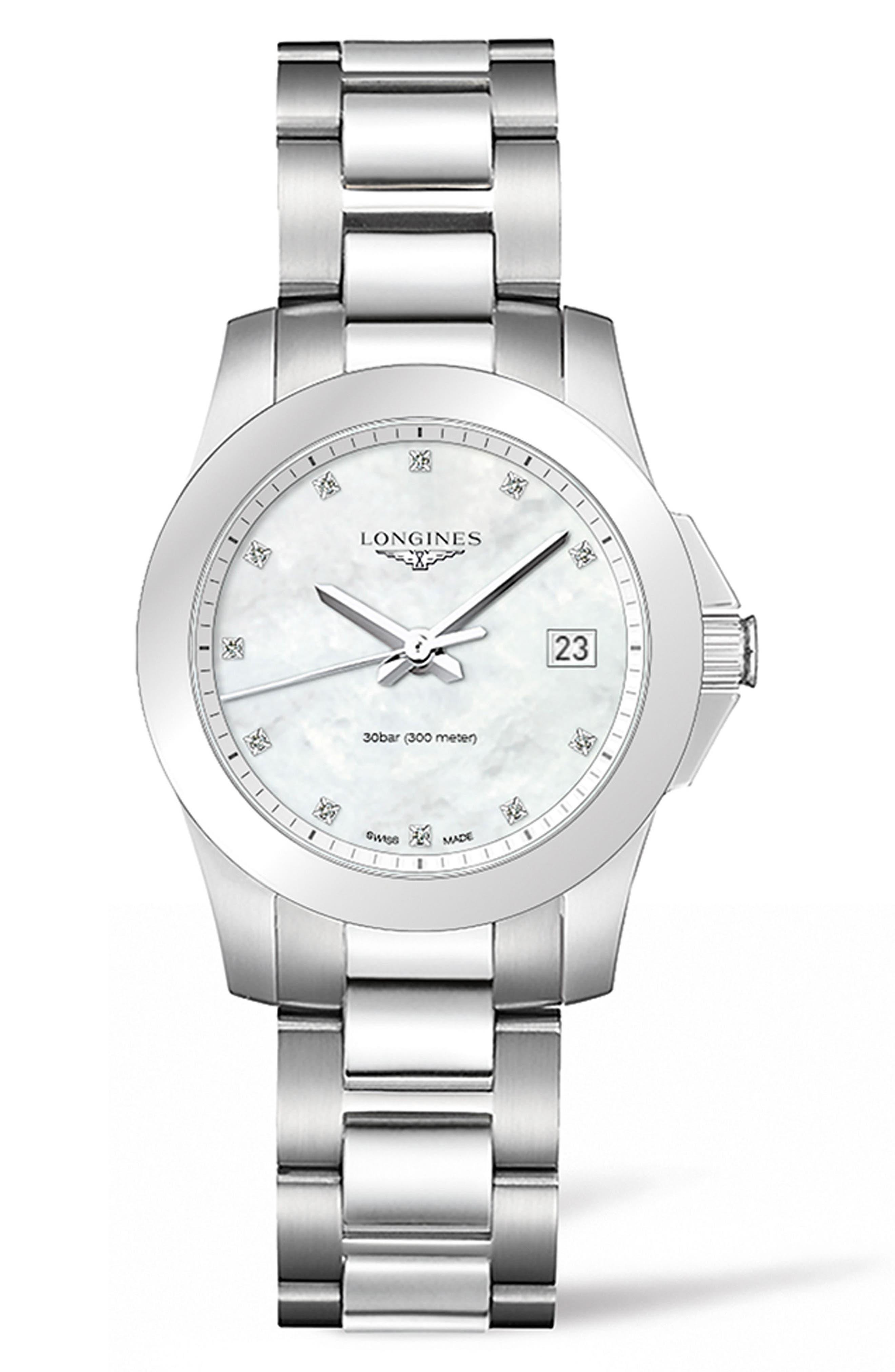 Conquest Diamond Bracelet Watch, 34mm,                         Main,                         color, Silver/ Mop/ Silver