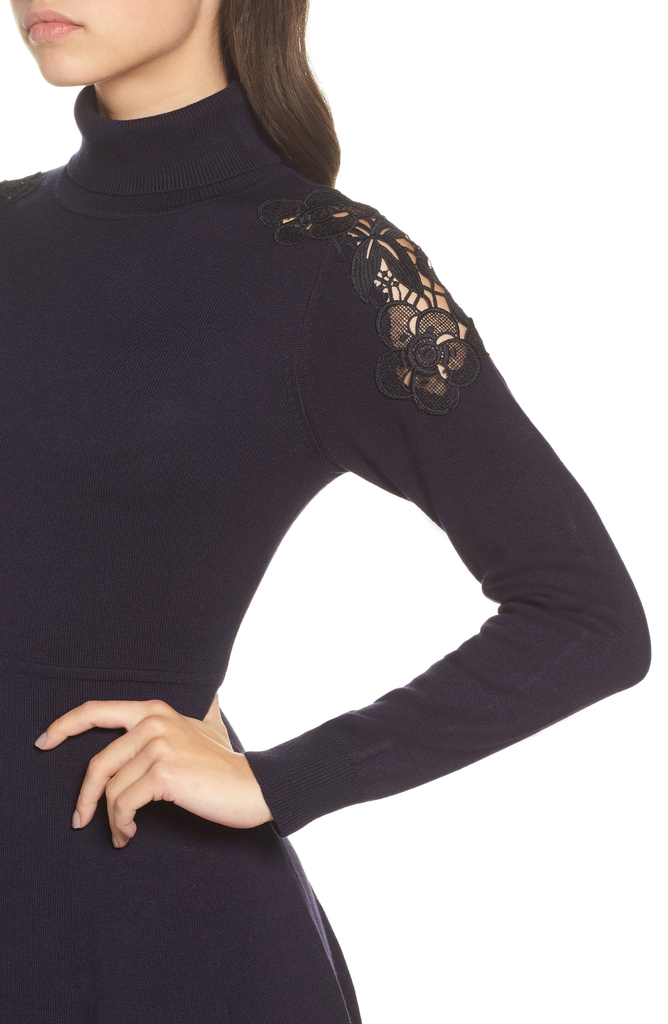 Lace Shoulder Turtleneck Sweater Dress,                             Alternate thumbnail 4, color,                             Navy