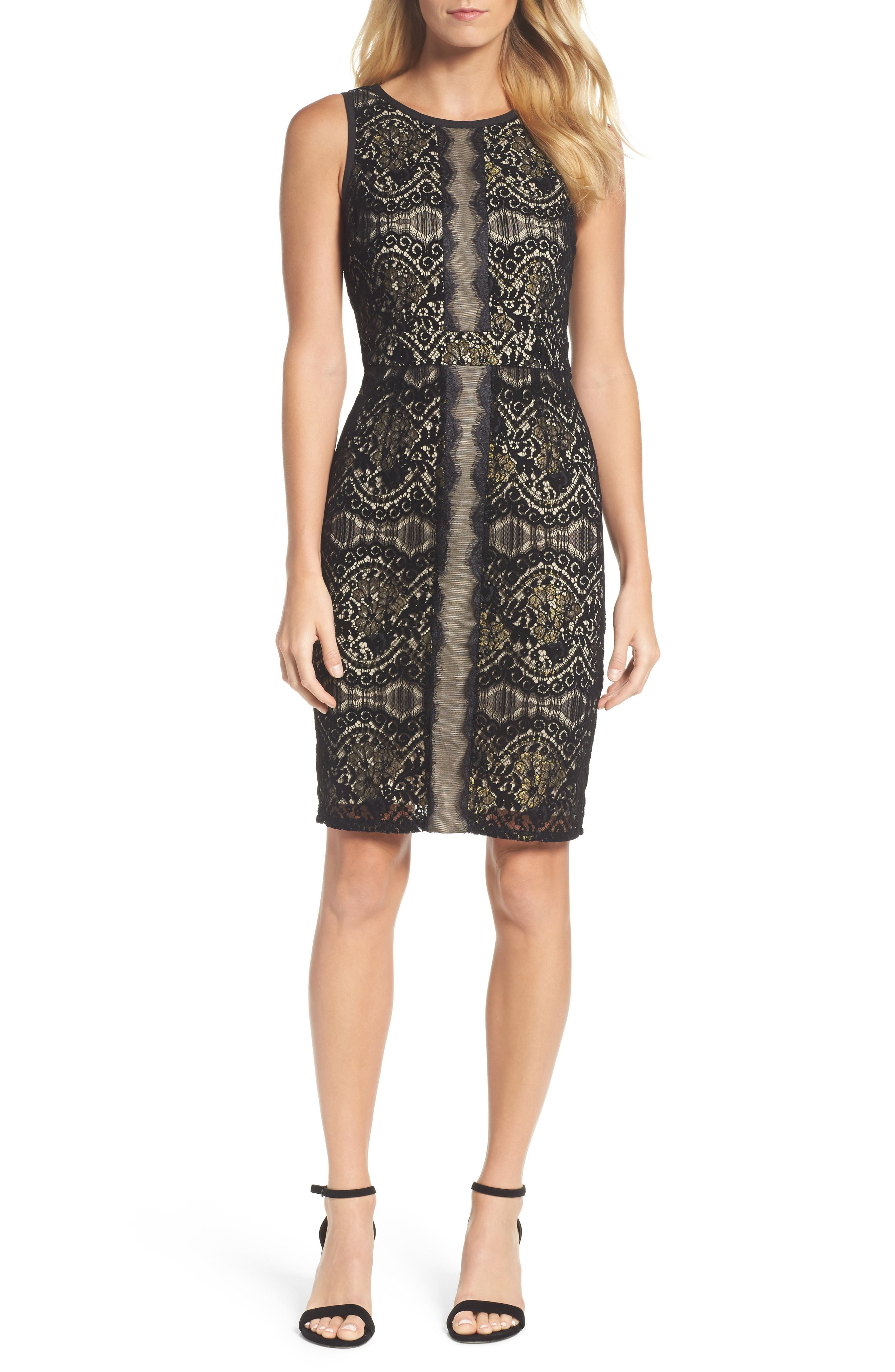 Lace Sheath Dress,                         Main,                         color, Black/ Champagne
