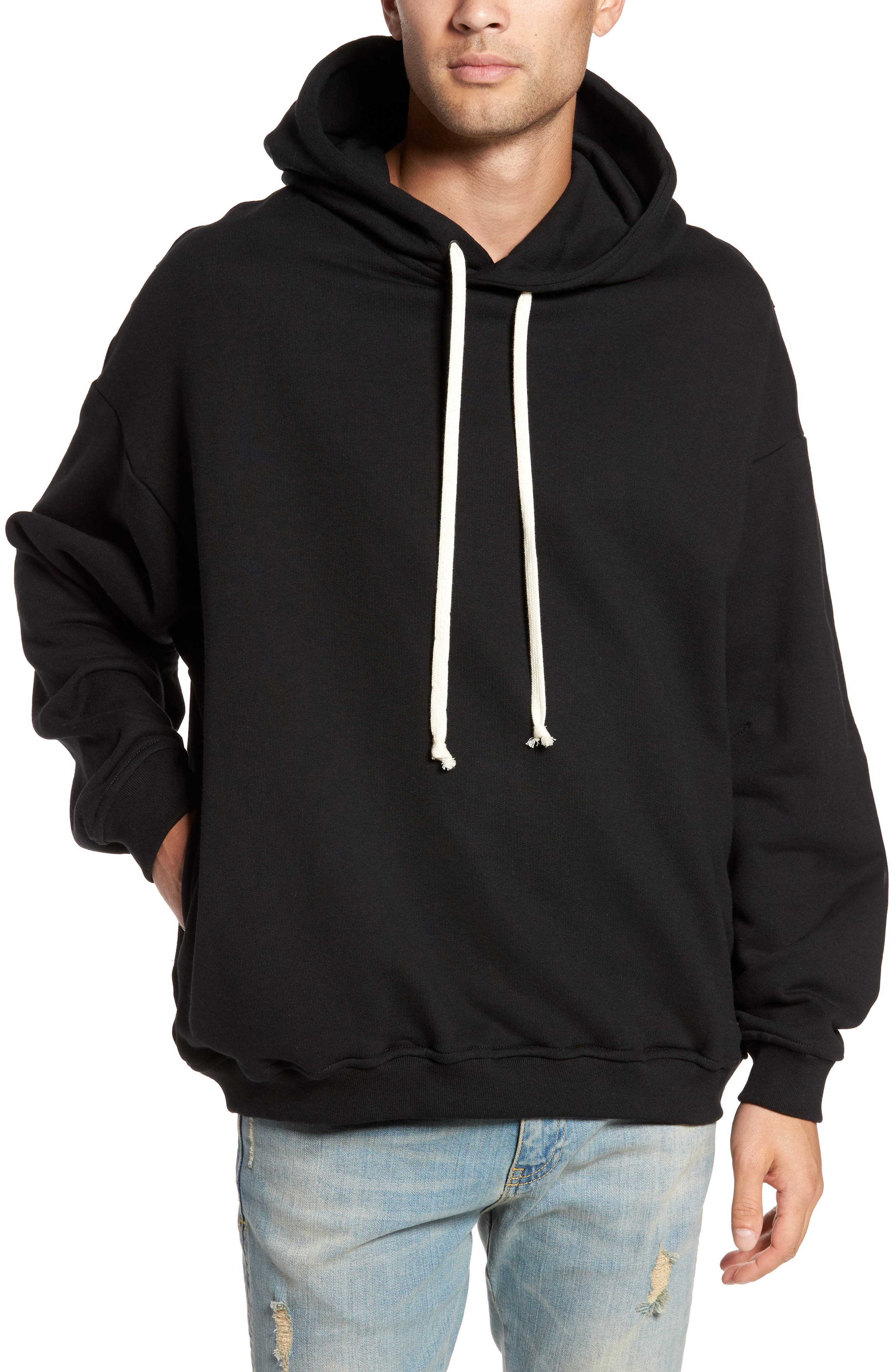Relaxed Fit Hoodie,                         Main,                         color, Black