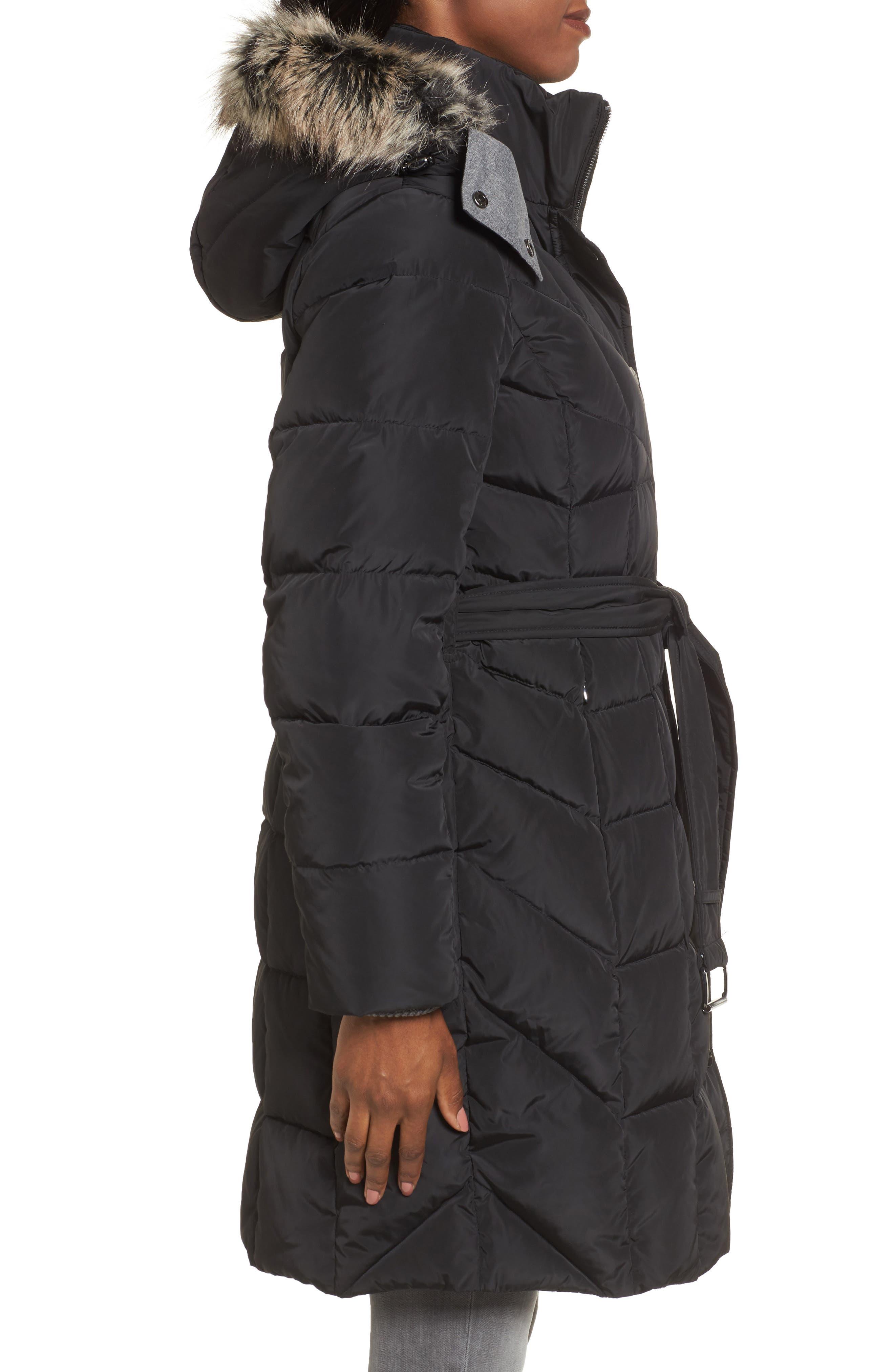 Alternate Image 3  - London Fog Down Coat with Faux Fur Trim