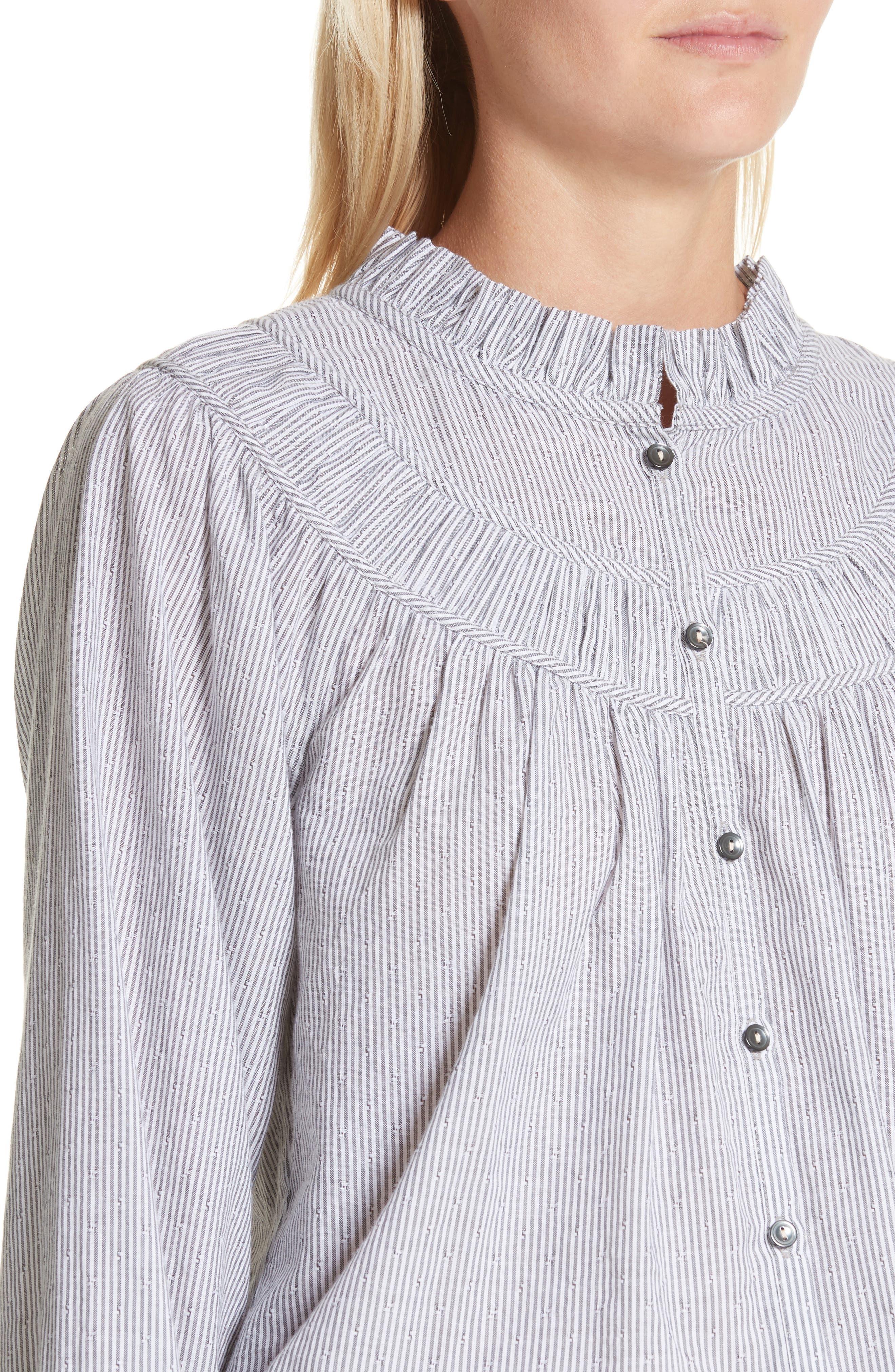 Stripe Long Sleeve Ruffle Shirt,                             Alternate thumbnail 4, color,                             Washed Black Combo