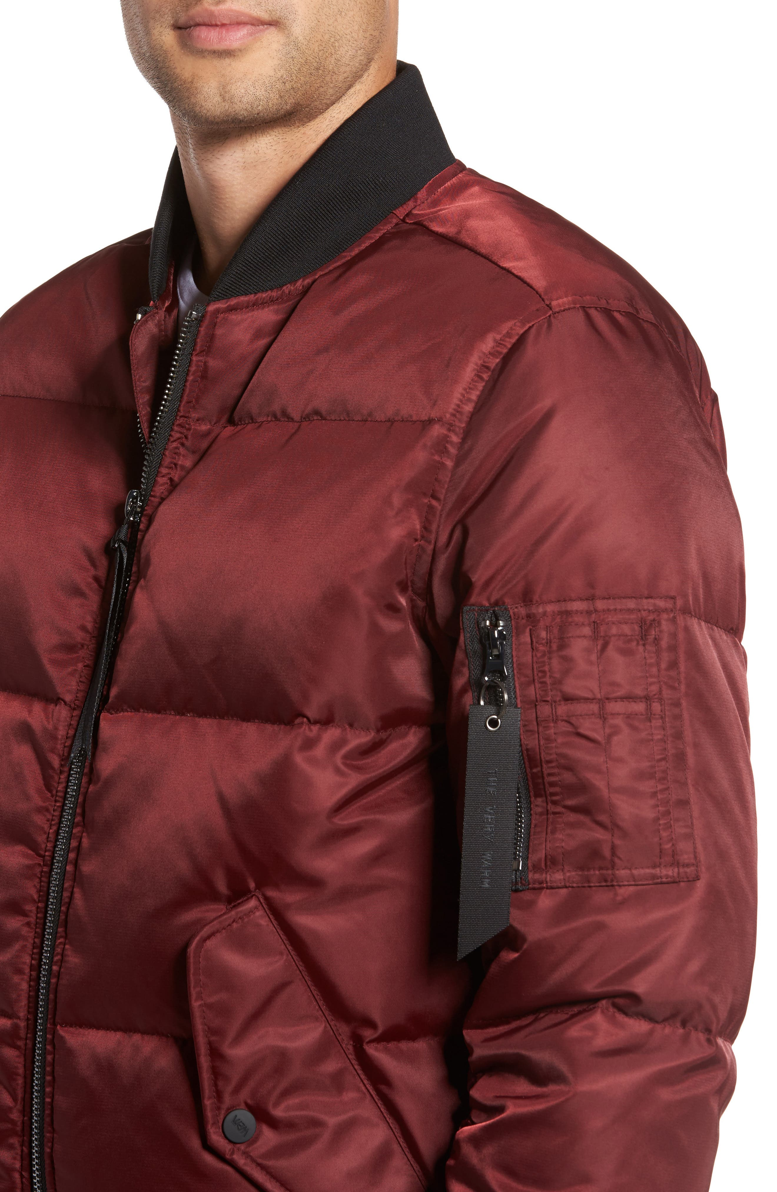 Quilted Down Bomber Jacket,                             Alternate thumbnail 4, color,                             Burgundy