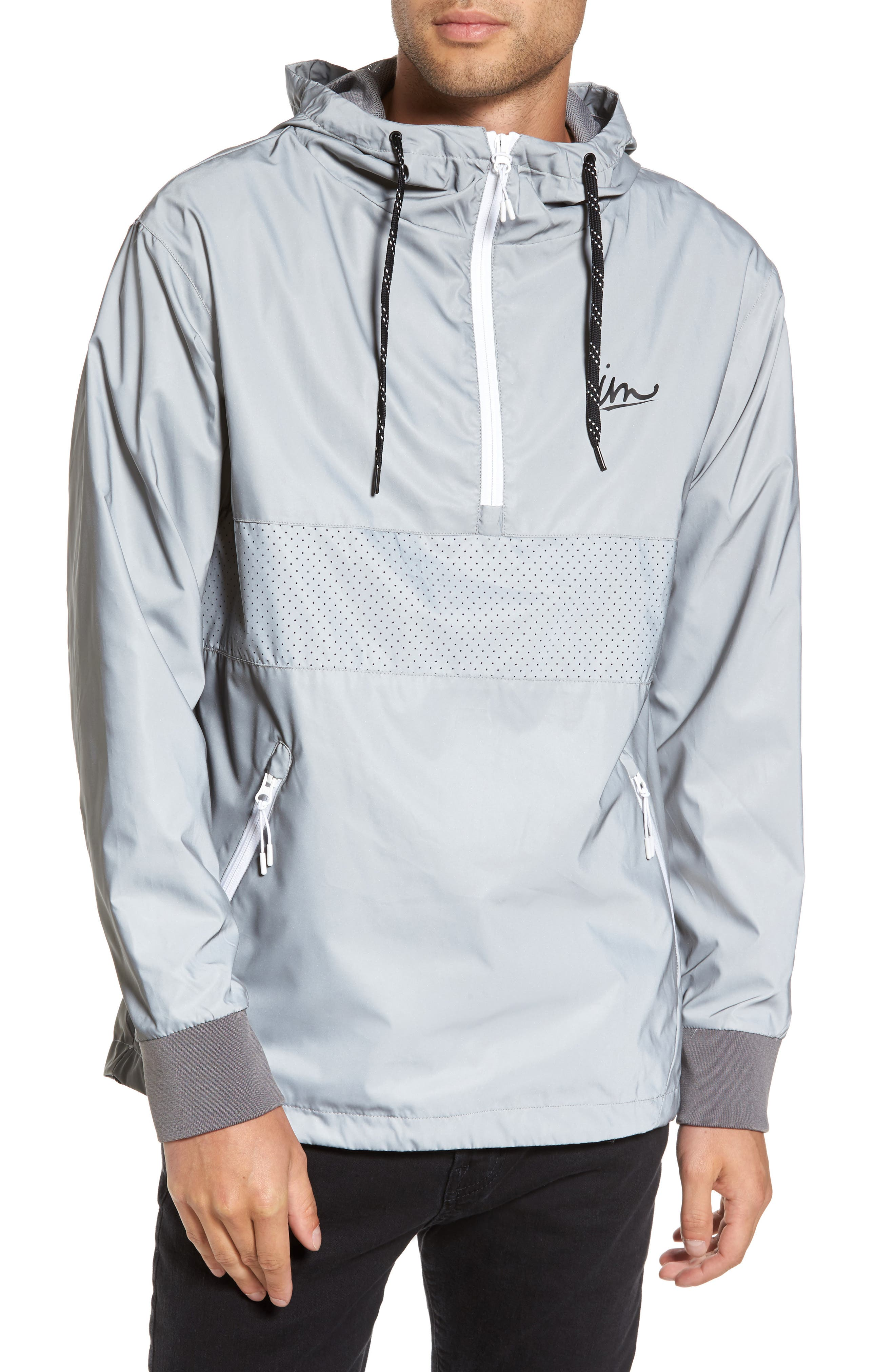 Helix Reflective Anorak,                         Main,                         color, Reflective Silver