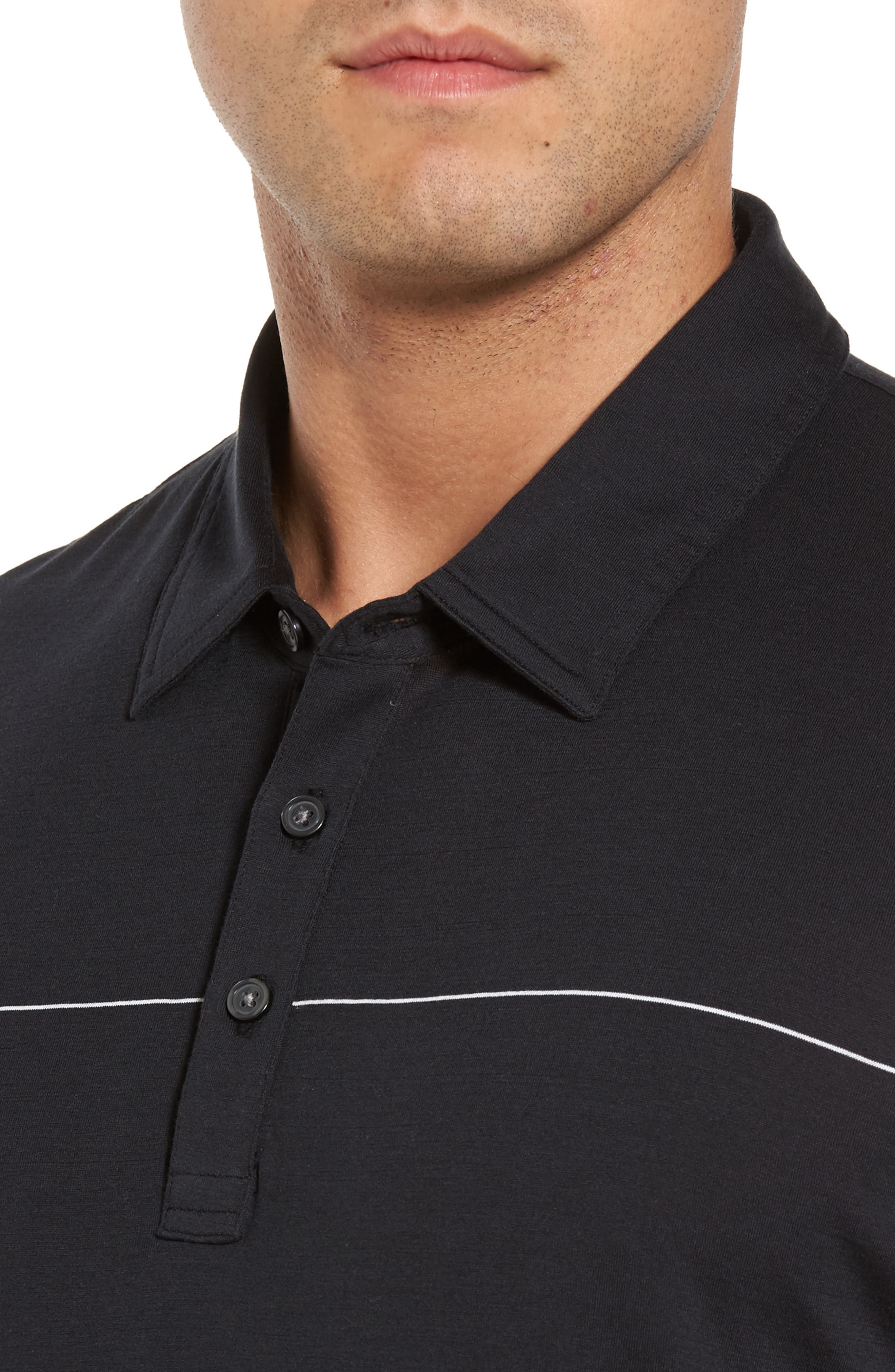 KJ Chalk Stripe Polo,                             Alternate thumbnail 4, color,                             Black