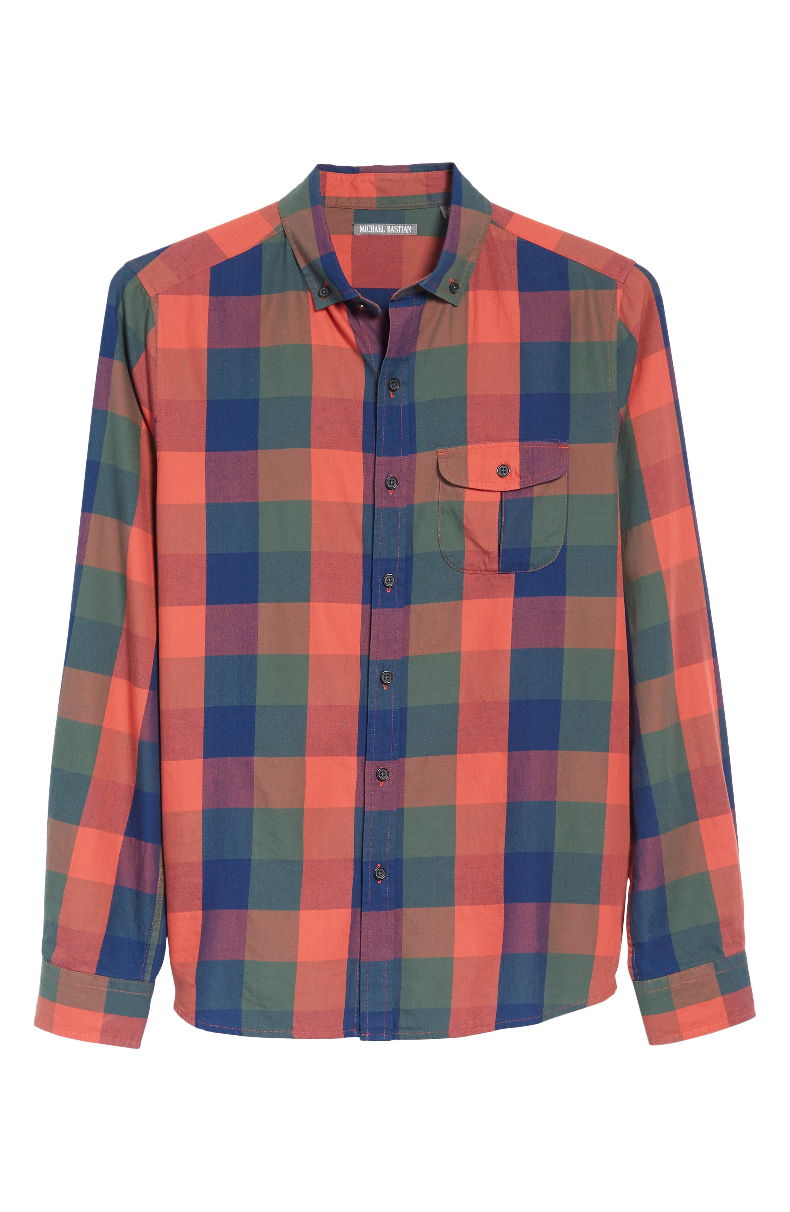 Trim Fit Plaid Sport Shirt,                             Alternate thumbnail 6, color,                             Indigo