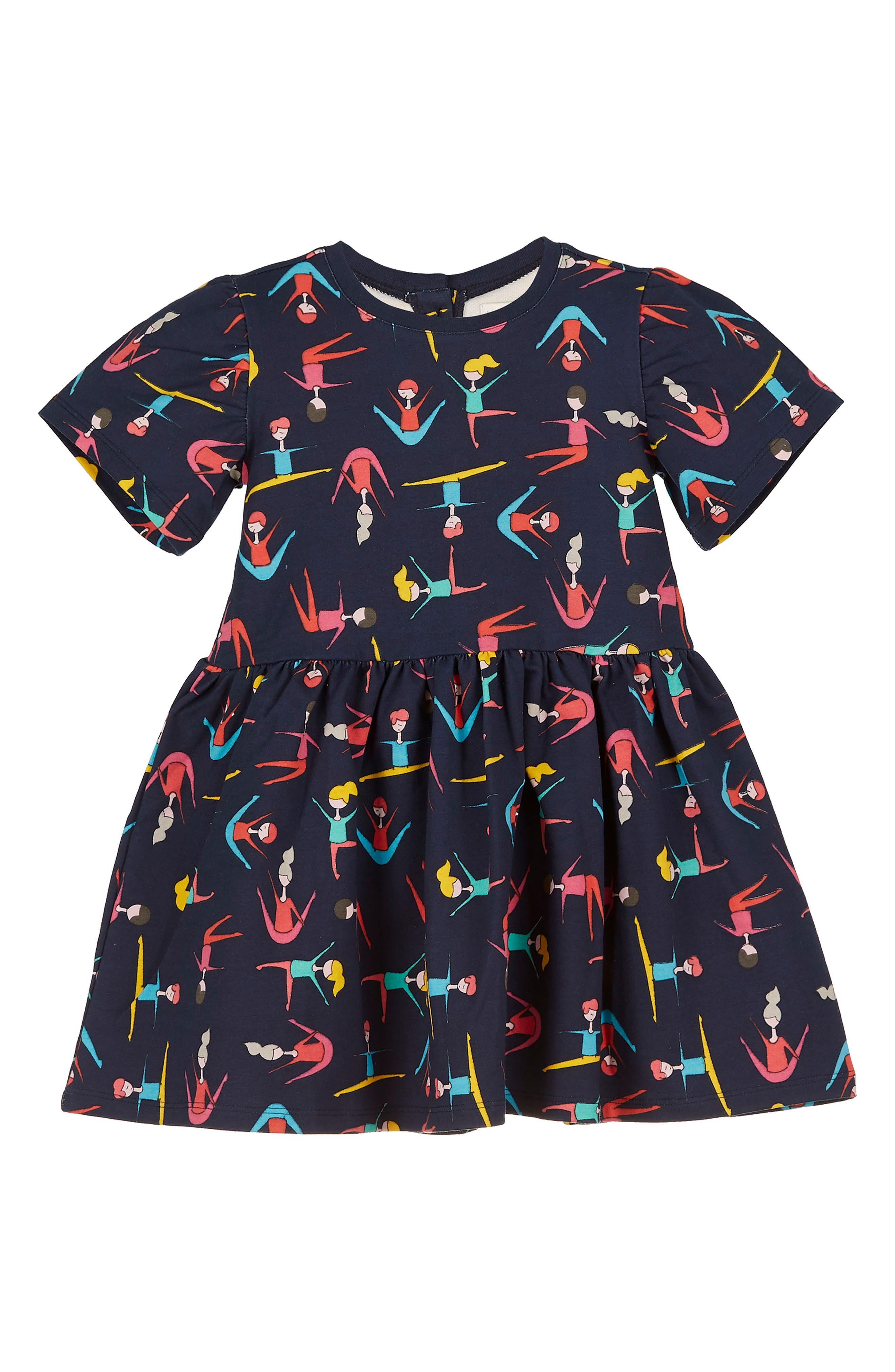 Stretching Print Dress,                         Main,                         color, Black Multi