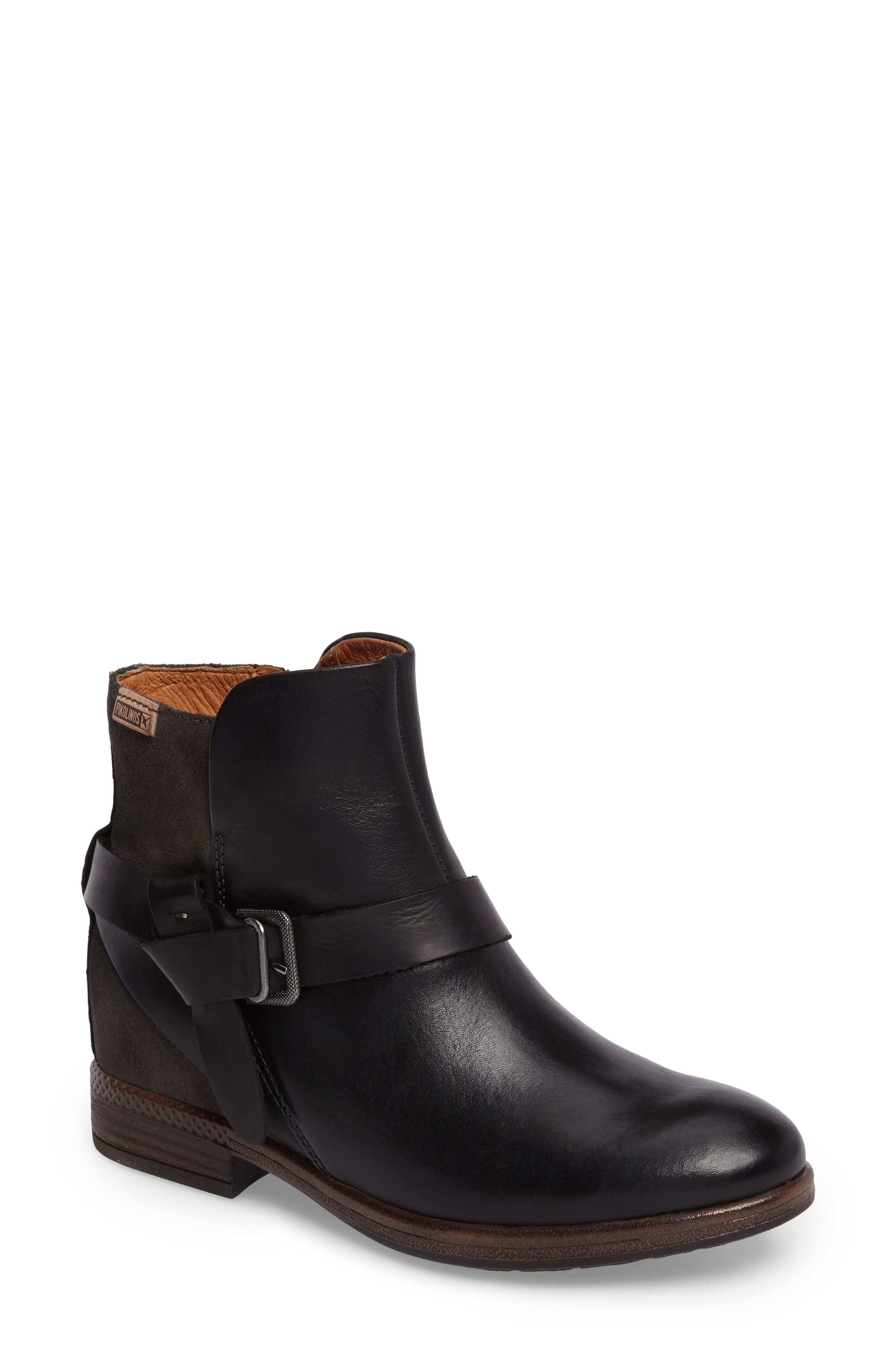 Ordino Bootie,                             Main thumbnail 1, color,                             Black Lead Leather