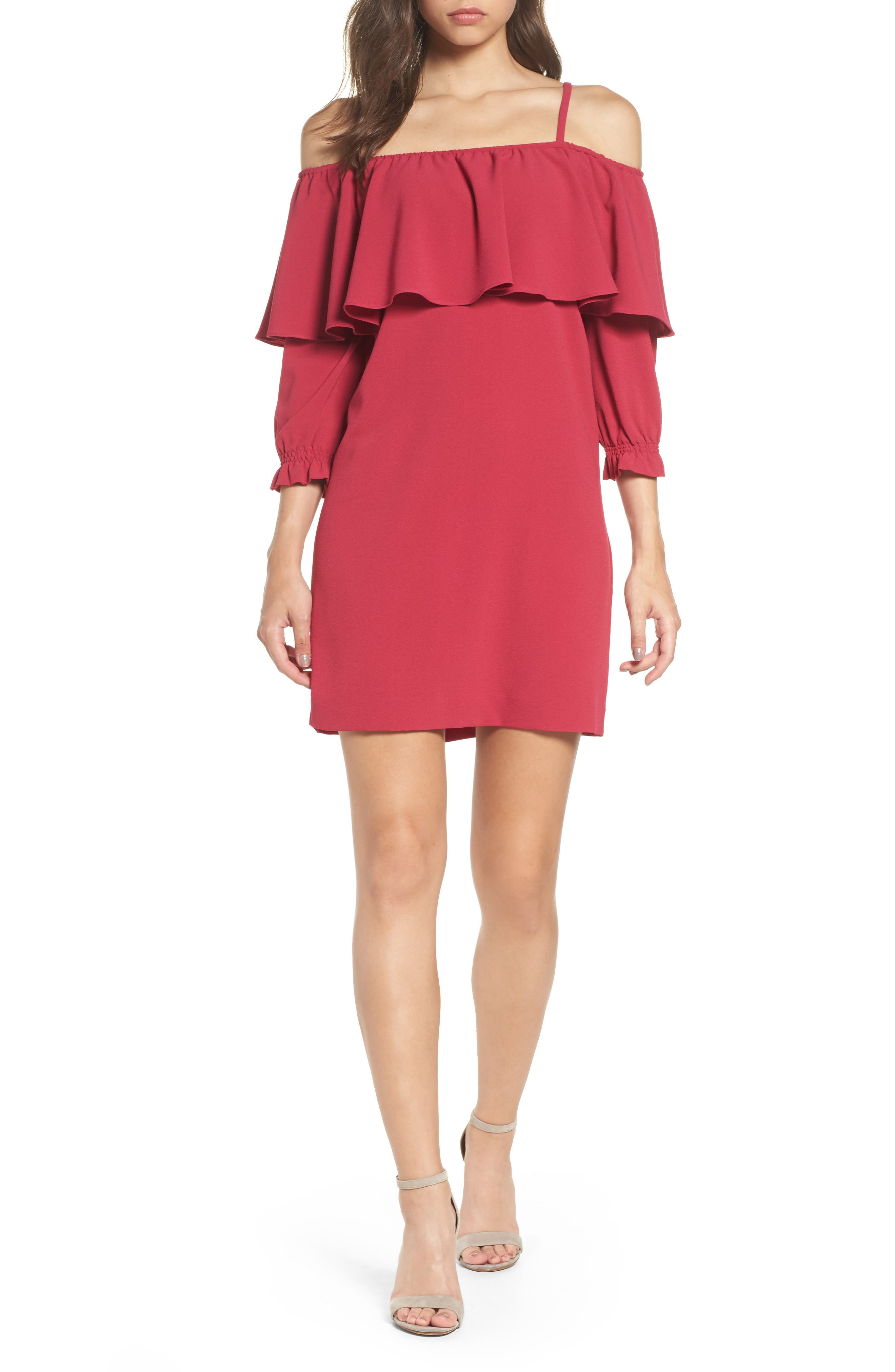 FELICITY & COCO Ruffle Cold Shoulder Shift Dress
