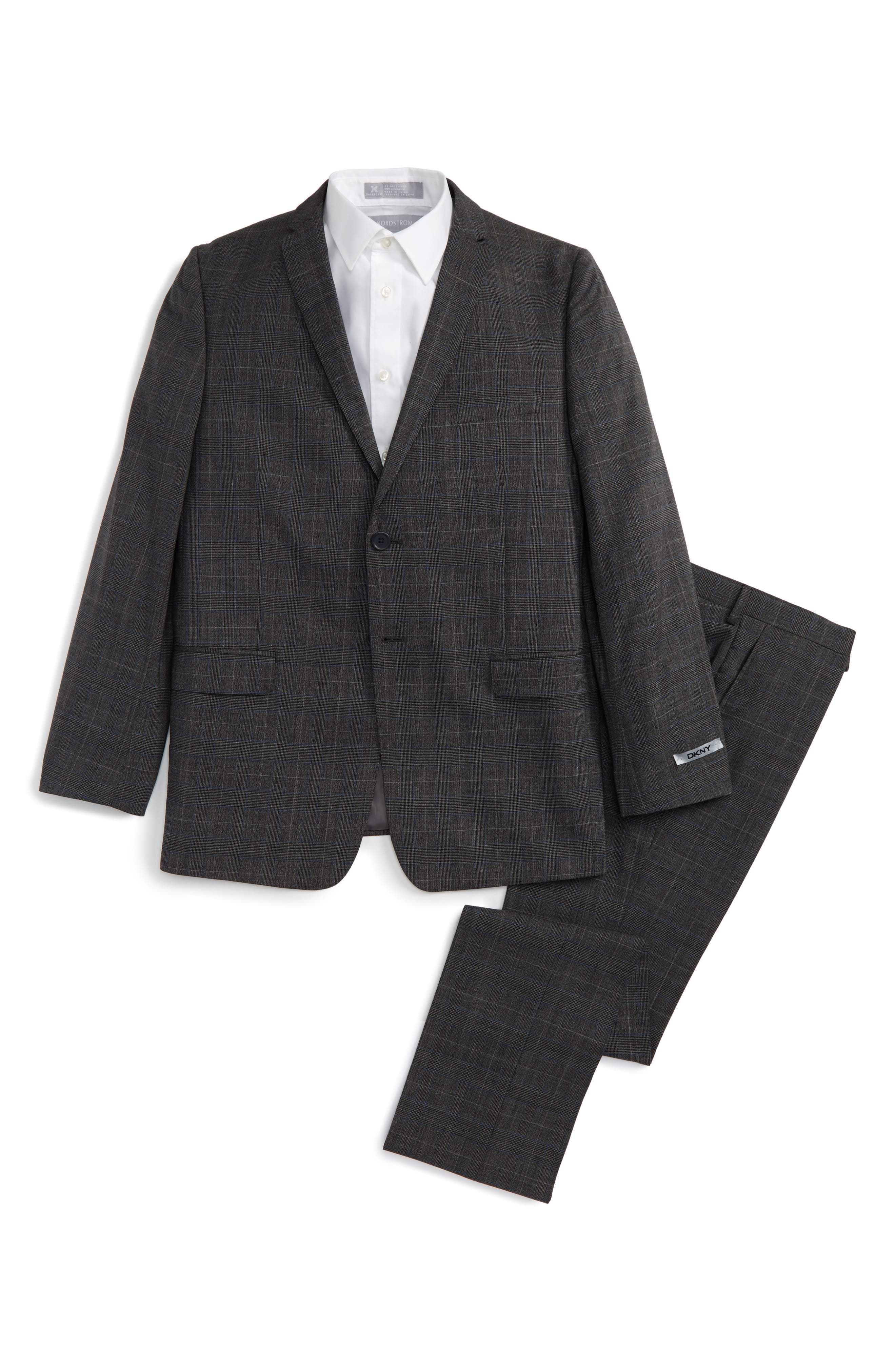 Alternate Image 1 Selected - DKNY Glen Plaid Wool Suit (Big Boys)