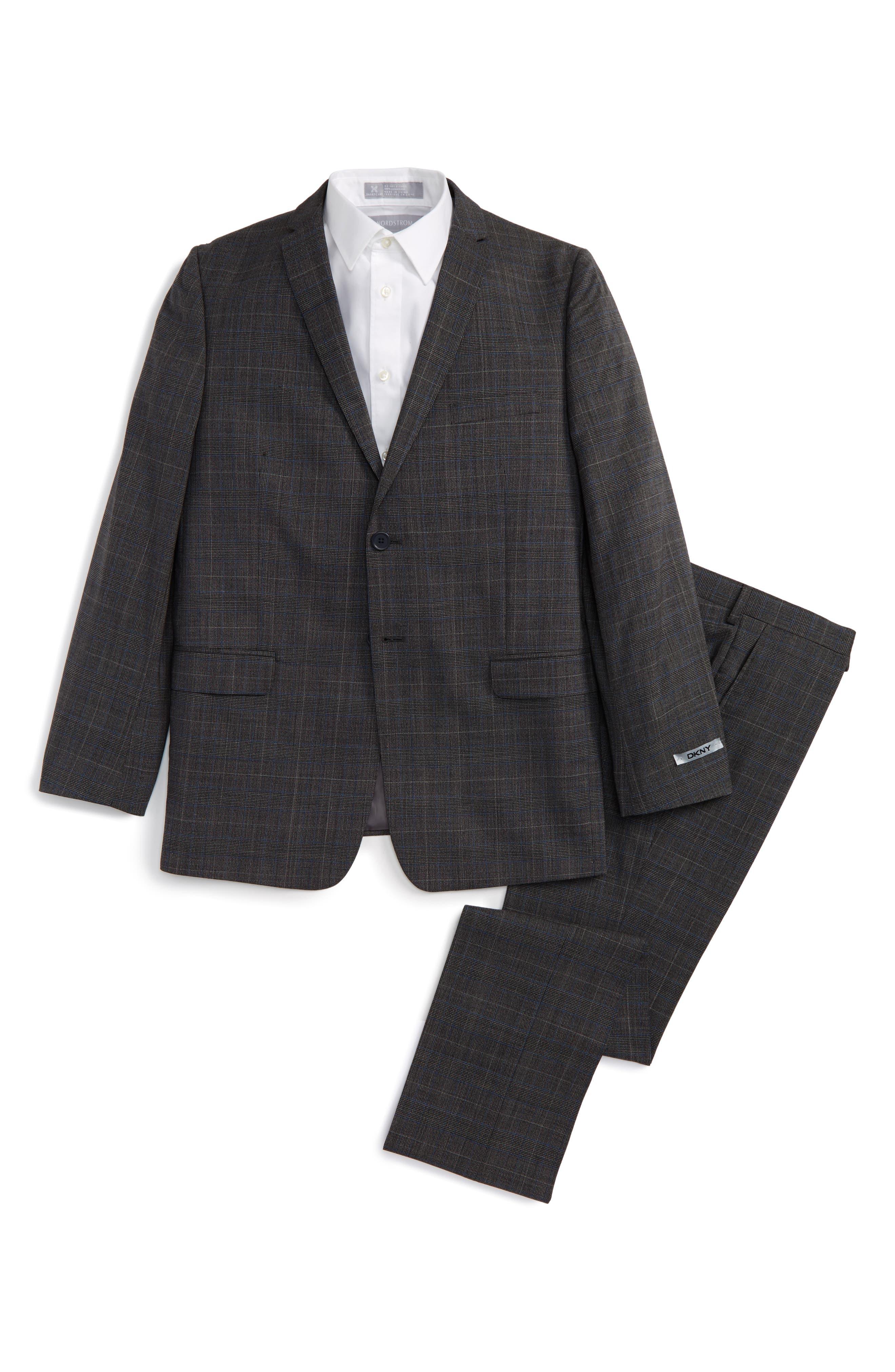 Main Image - DKNY Glen Plaid Wool Suit (Big Boys)