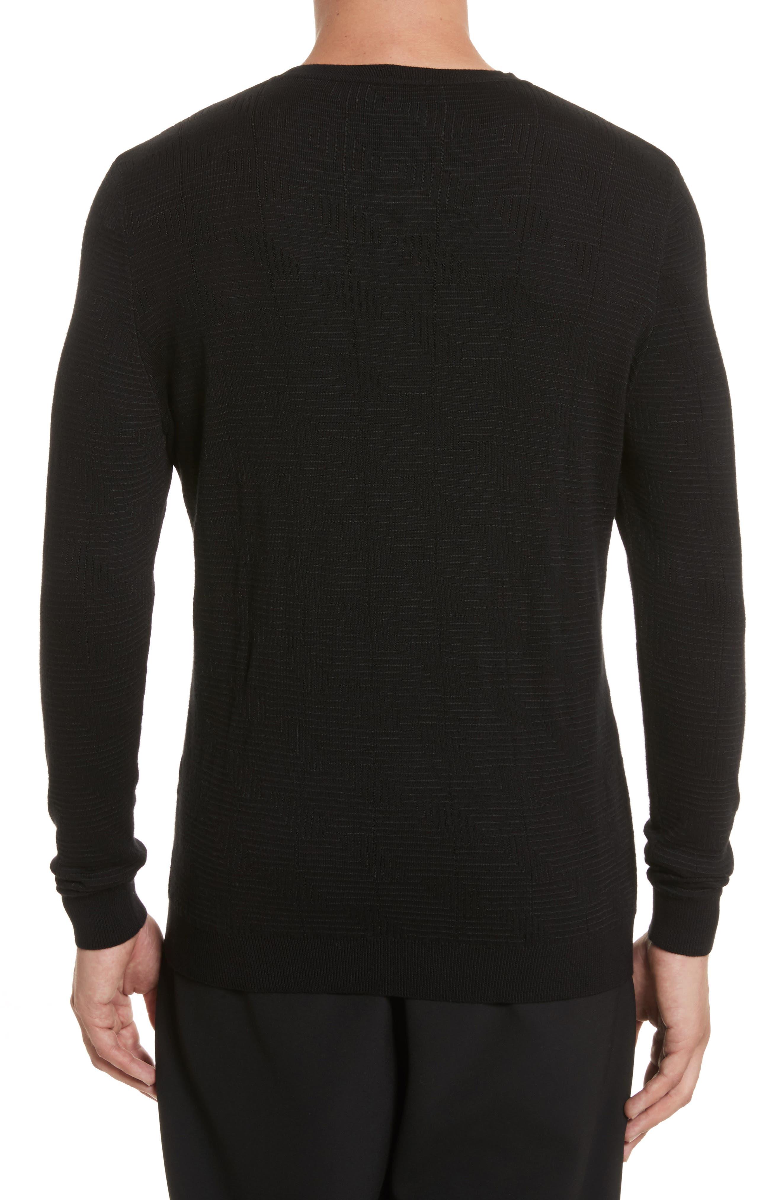 Frame Jacquard Sweater,                             Alternate thumbnail 2, color,                             Black