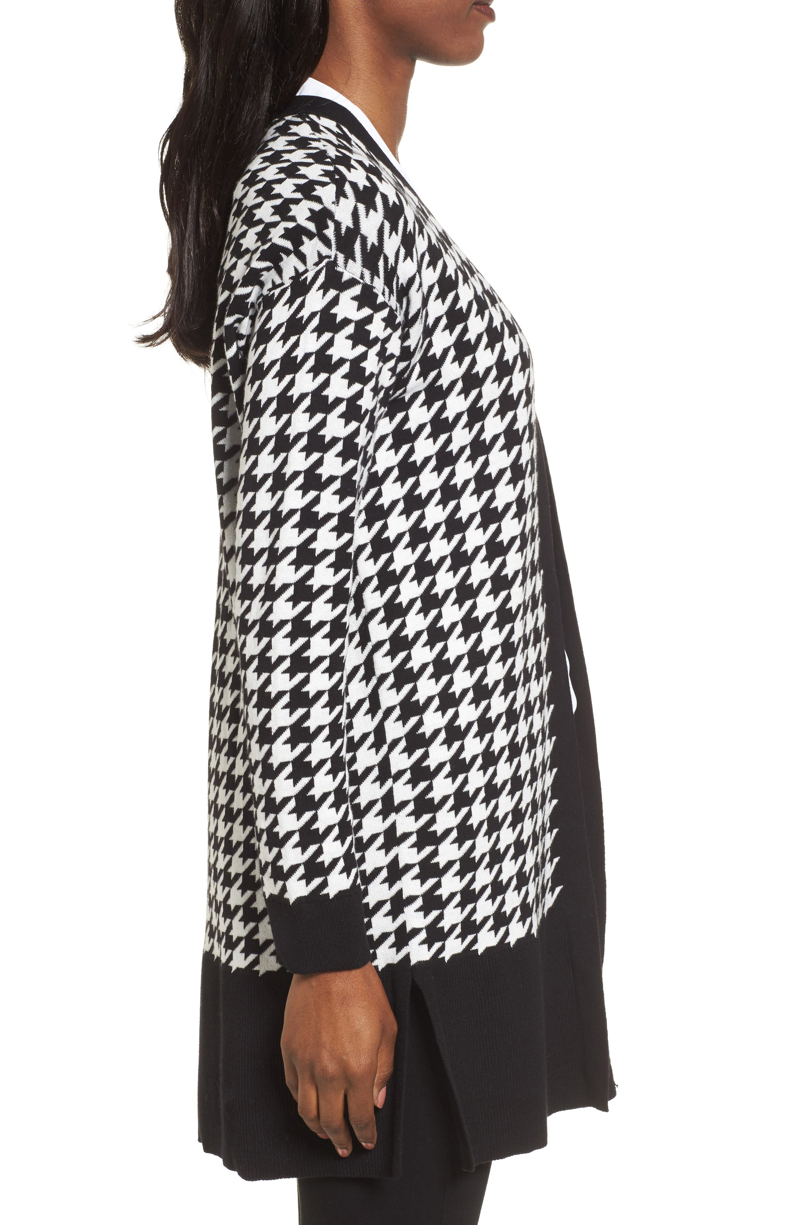Houndstooth Cardigan,                             Alternate thumbnail 3, color,                             Rich Black