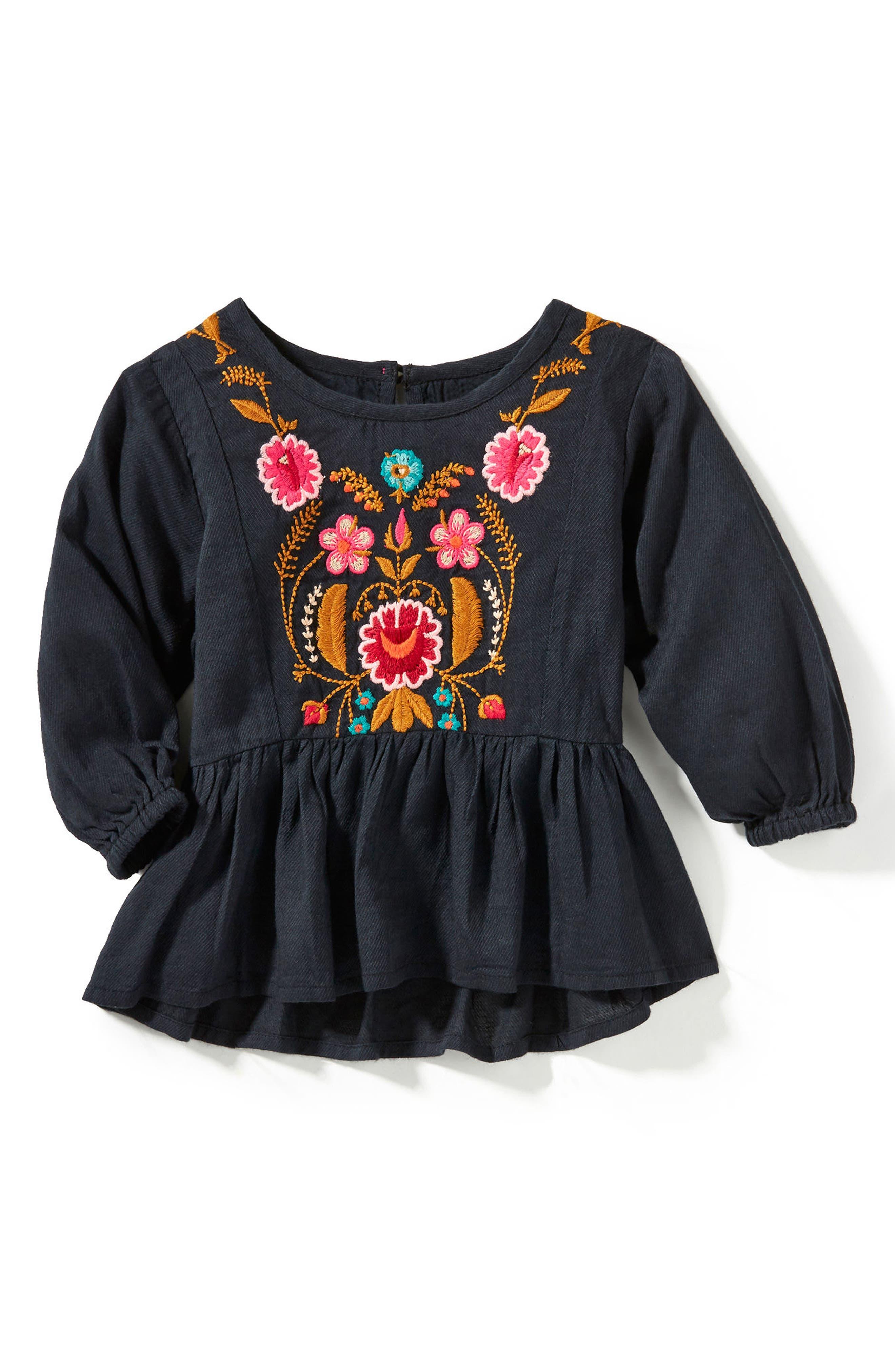 Main Image - Peek Emma Embroidered Twill Tunic (Baby Girls)