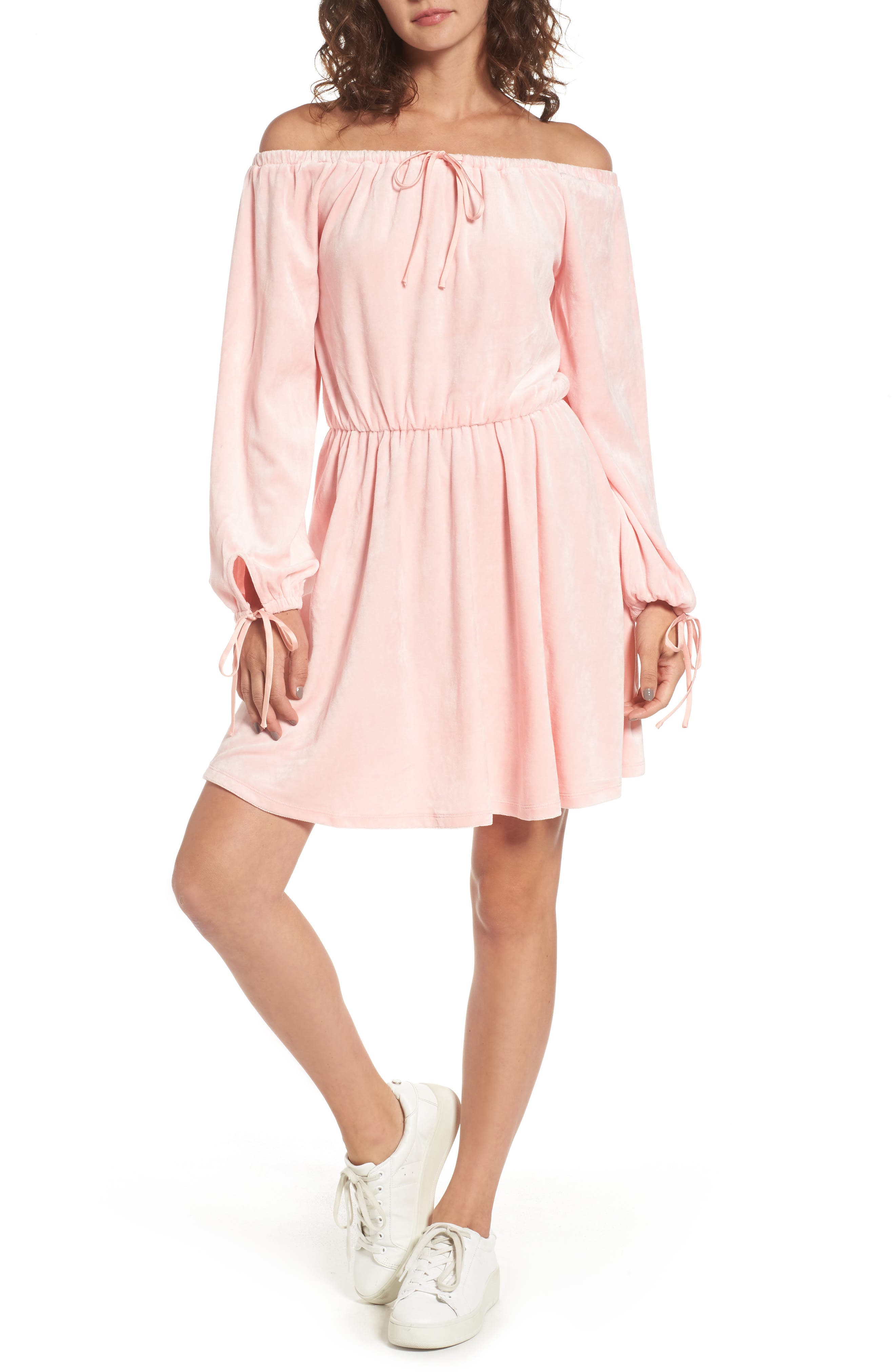 Main Image - Juicy Couture Track Off the Shoulder Velour Dress