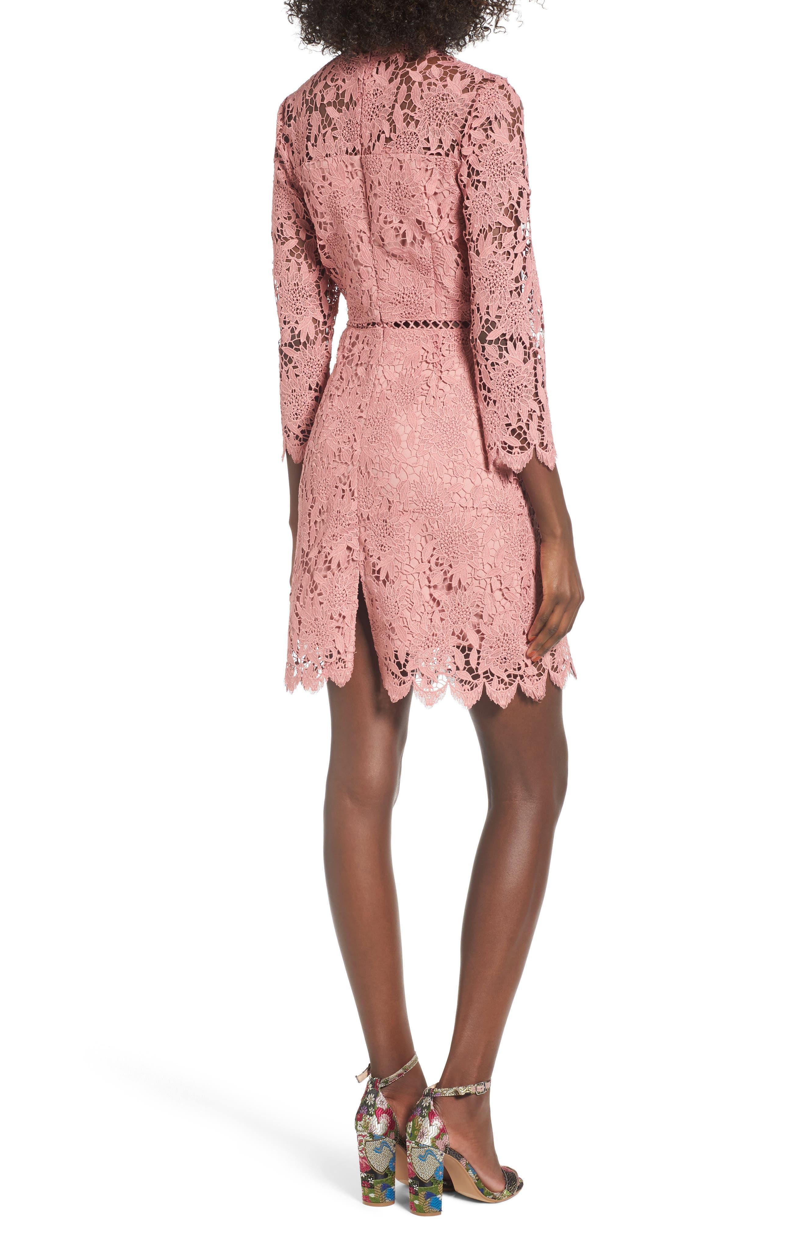 Lace Sheath Dress,                             Alternate thumbnail 2, color,                             Pink