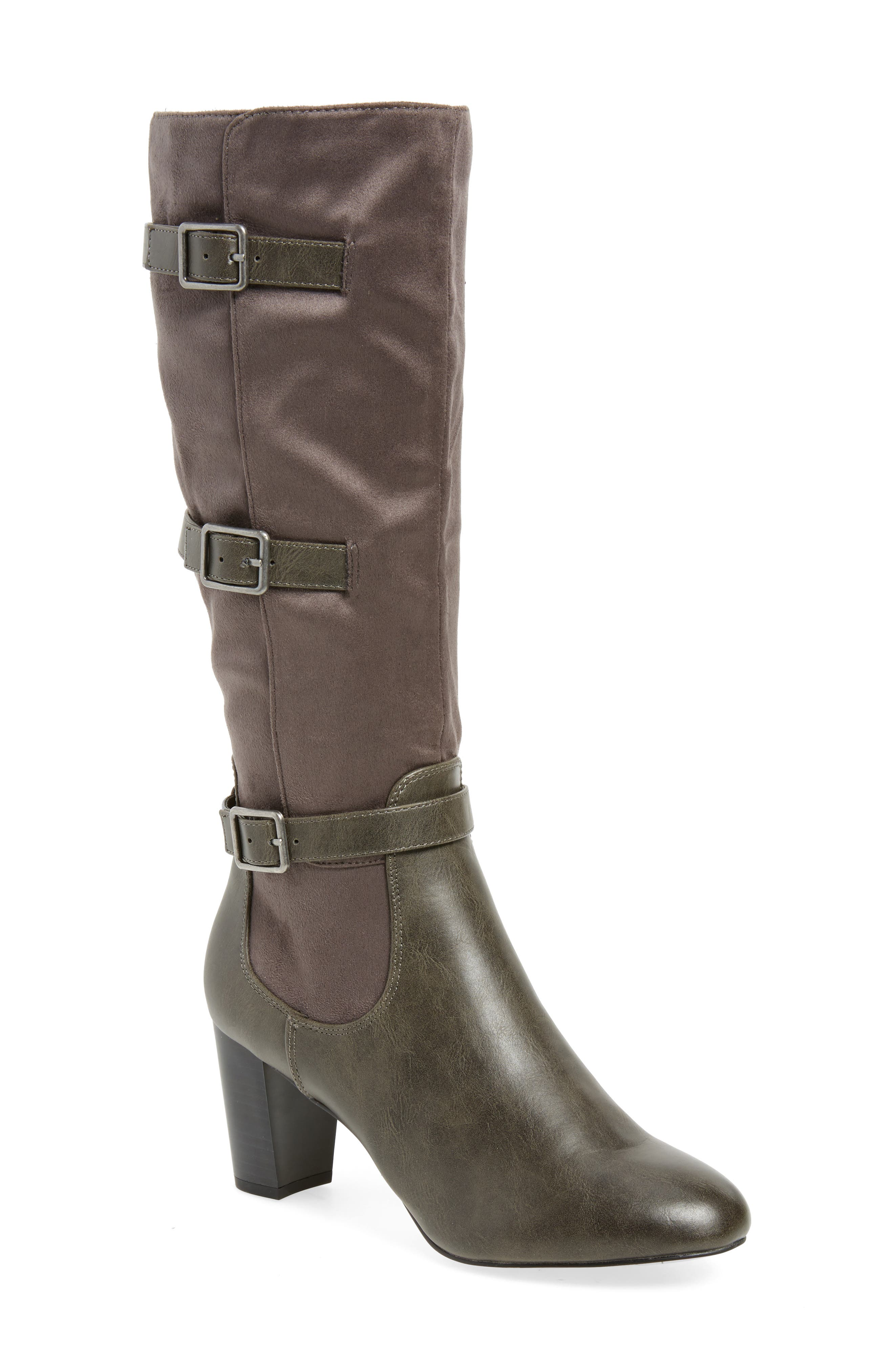 Talina II Belted Knee High Boot,                             Main thumbnail 1, color,                             Grey Suede