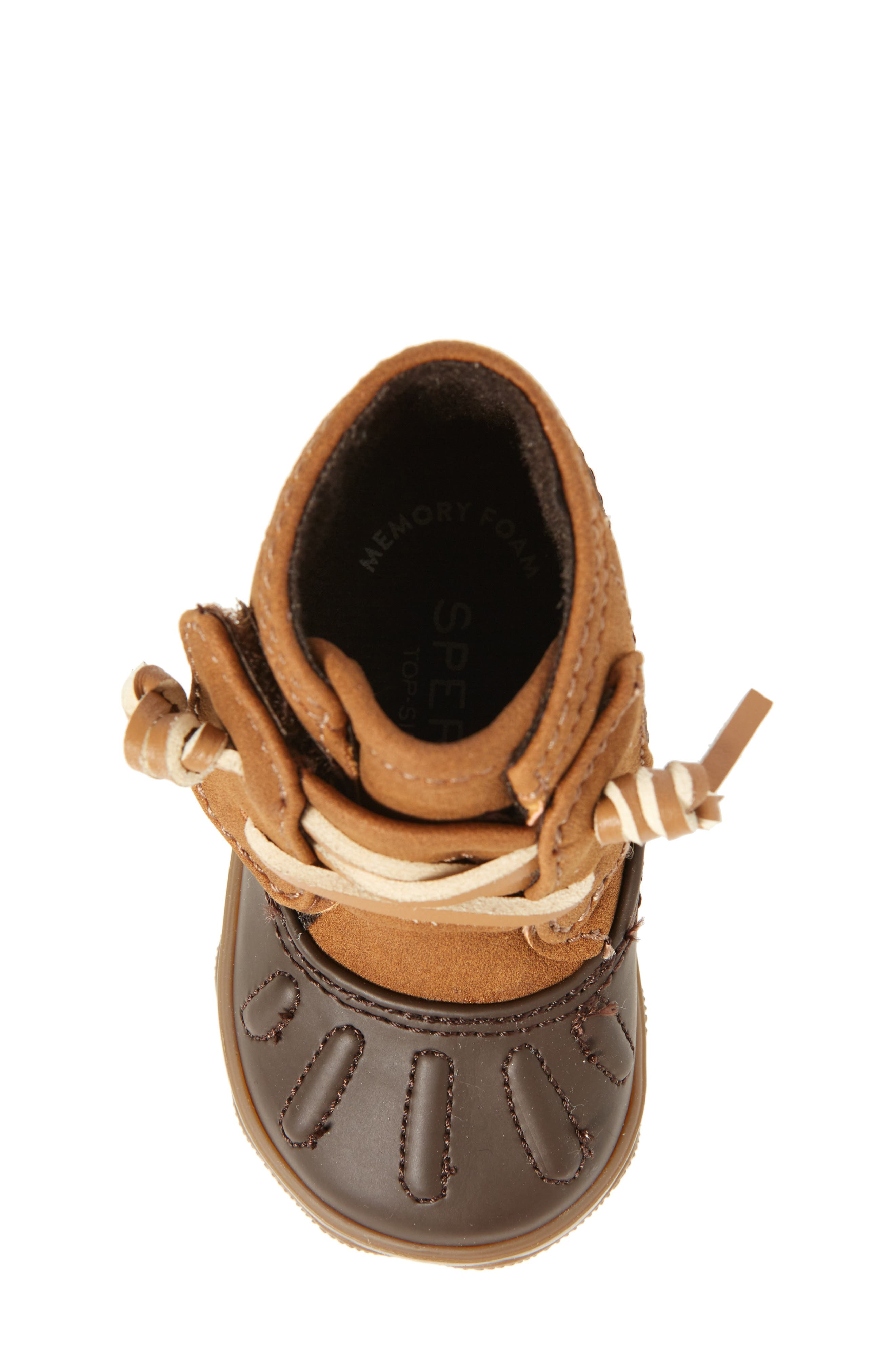 Sperry Icestorm Crib Duck Bootie,                             Alternate thumbnail 5, color,                             Tan/ Brown