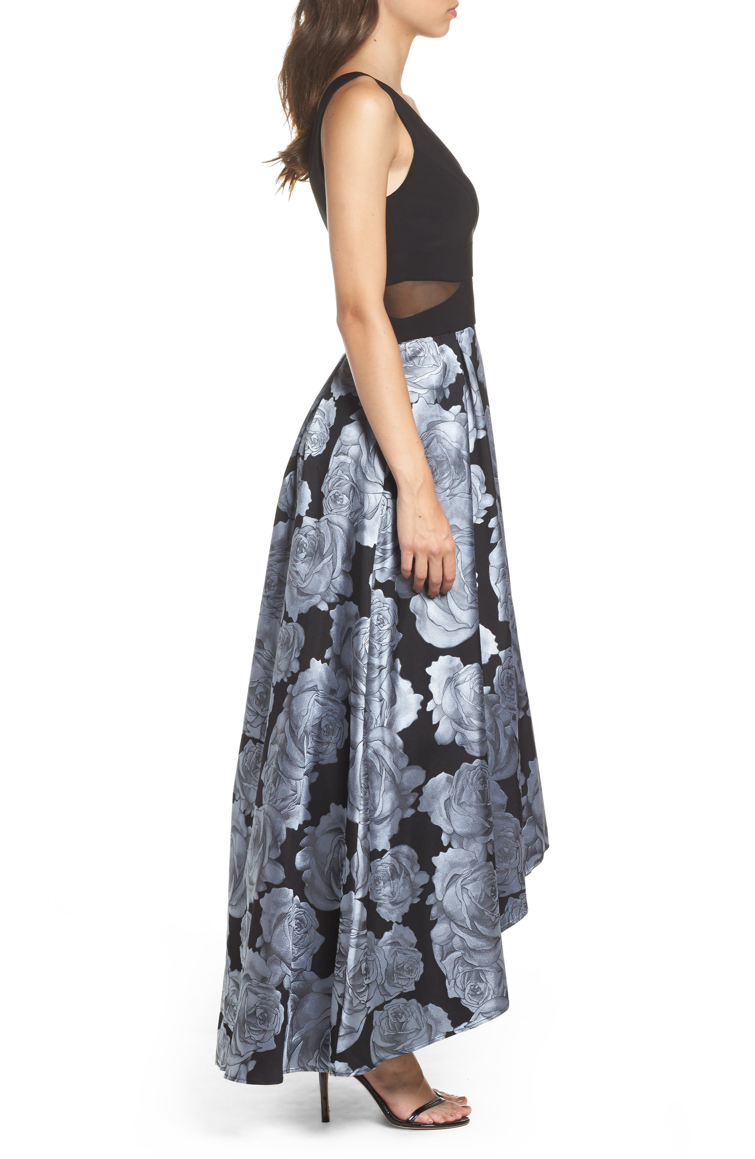 Jersey & Brocade High/Low Gown,                             Alternate thumbnail 3, color,                             Black/ Grey