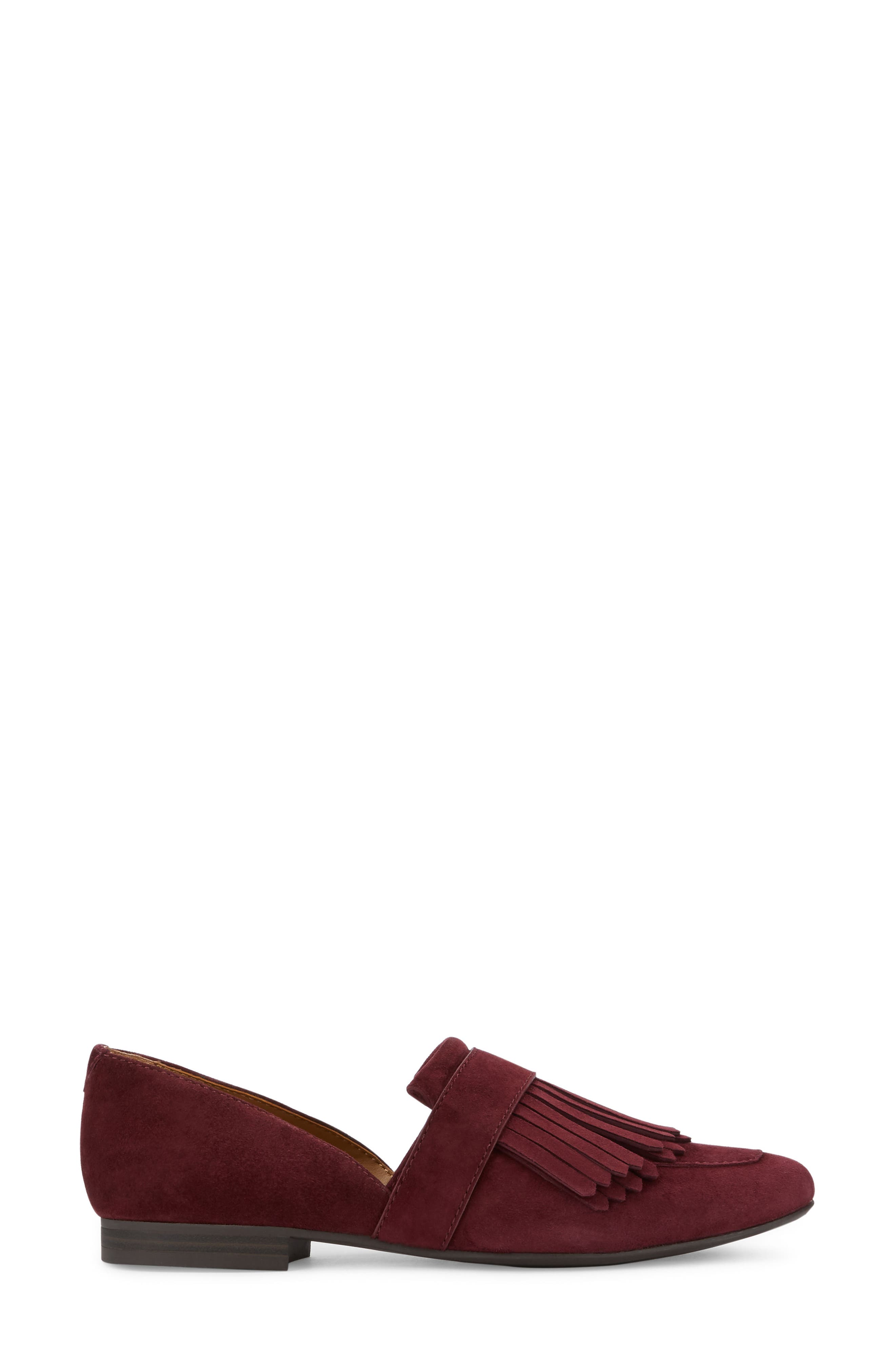 'Harlow' Kiltie Leather Loafer,                             Alternate thumbnail 2, color,                             Wine Suede