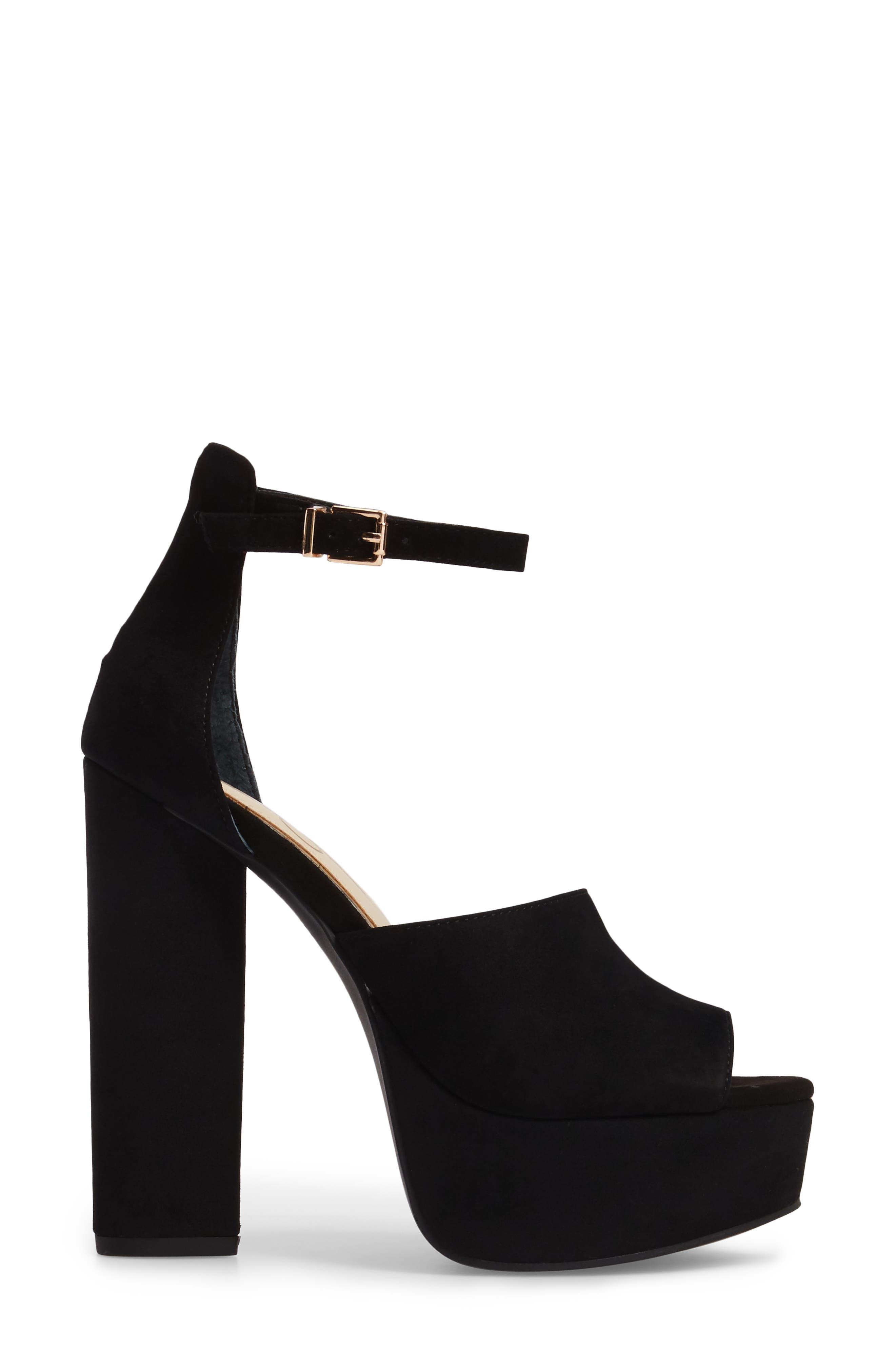 Elin Platform Sandal,                             Alternate thumbnail 3, color,                             Black Suede