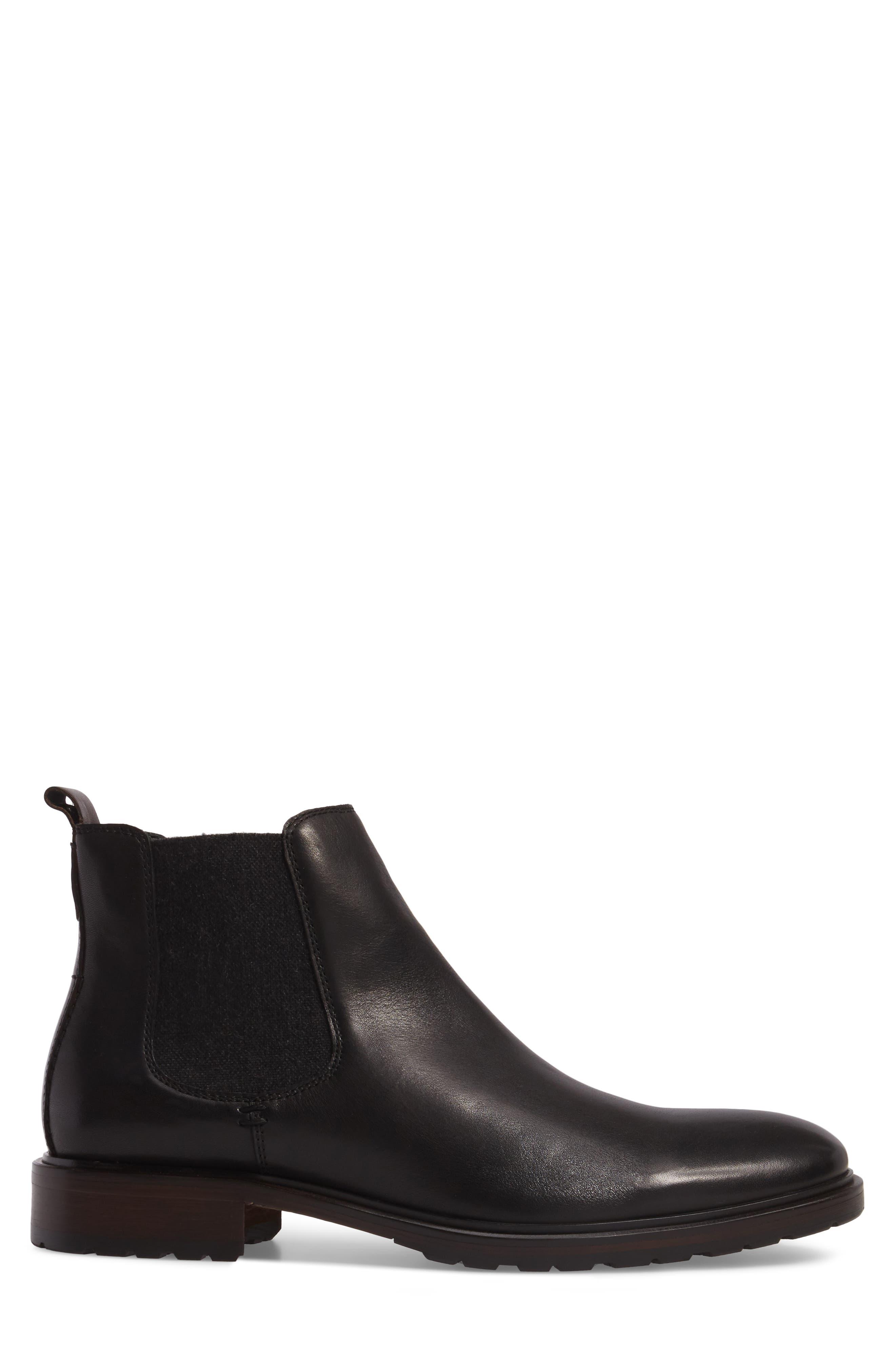 Myles Chelsea Boot,                             Alternate thumbnail 3, color,                             Black Leather