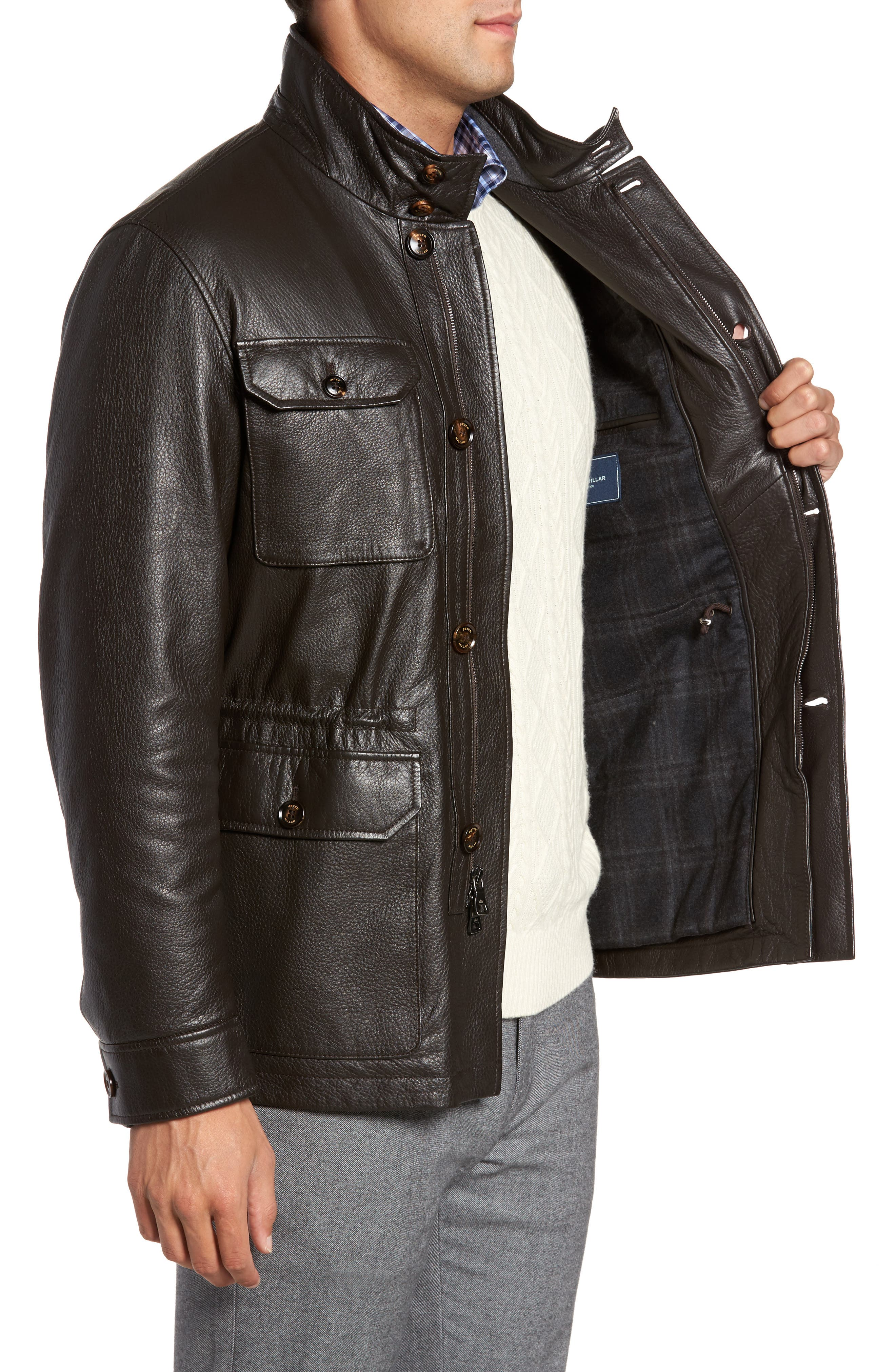 Woodland Discovery Deerskin Leather Jacket,                             Alternate thumbnail 3, color,                             Espresso