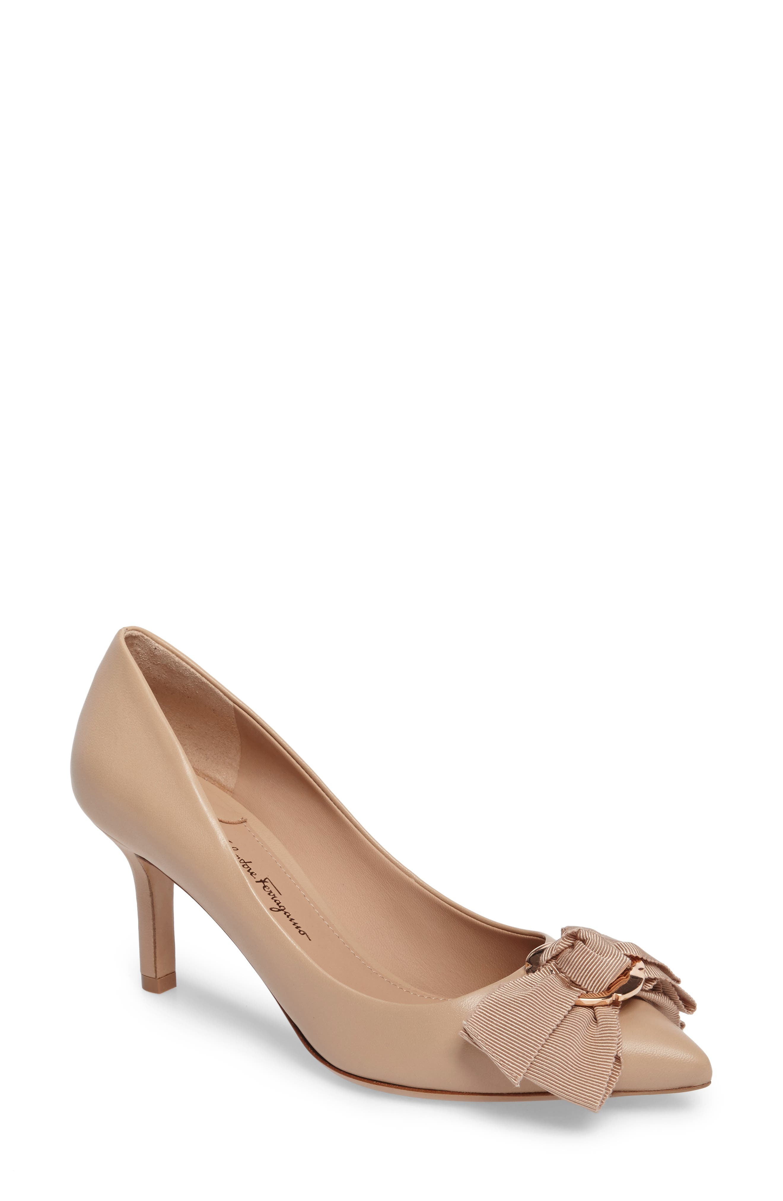 Talla Bow Pointy Toe Pump,                             Main thumbnail 1, color,                             Almond