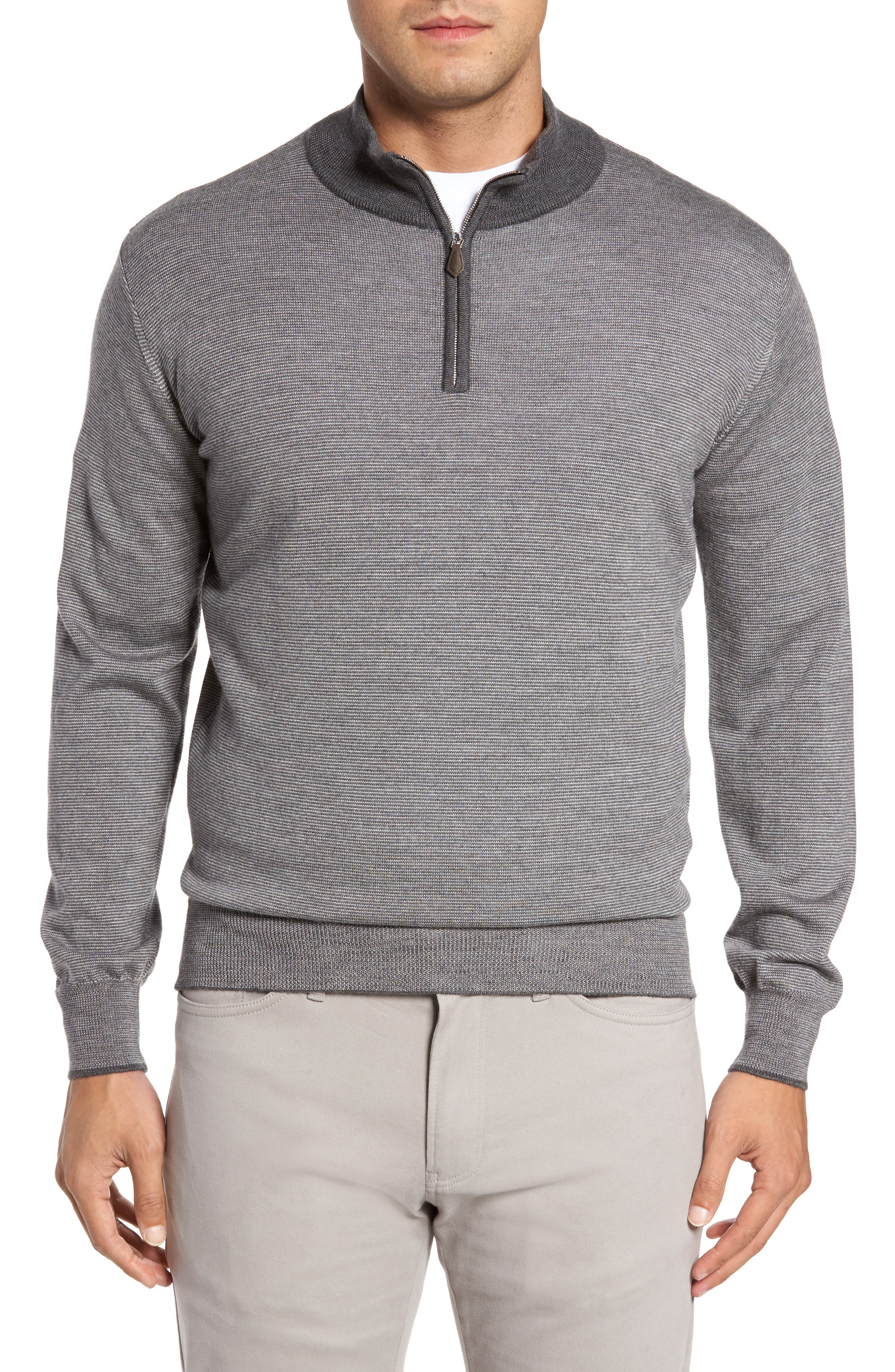Alternate Image 1 Selected - Peter Millar Collection Needle Stripe Merino Blend Quarter Zip Pullover