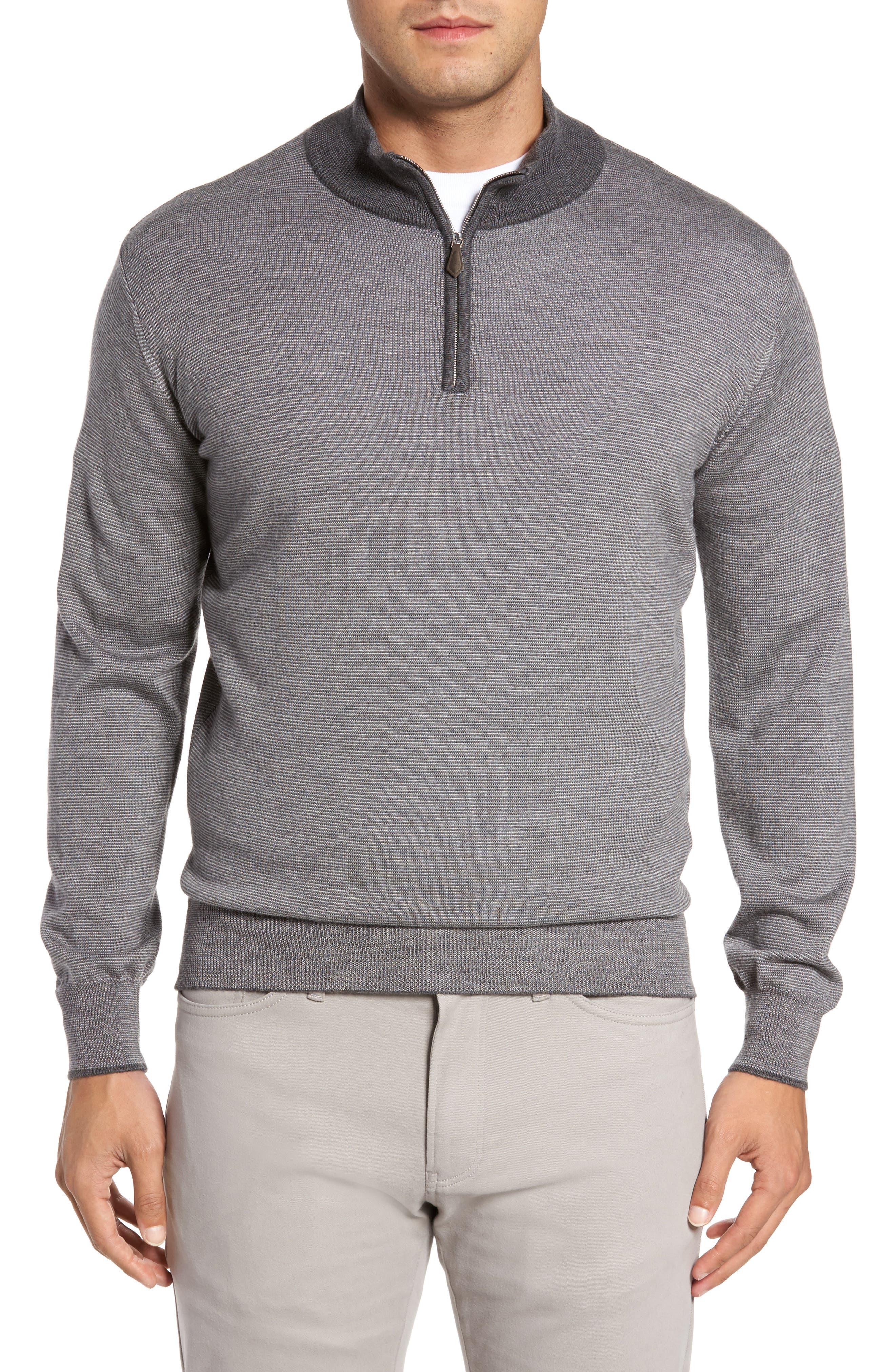 Needle Stripe Merino Blend Quarter Zip Pullover,                         Main,                         color, Nickel