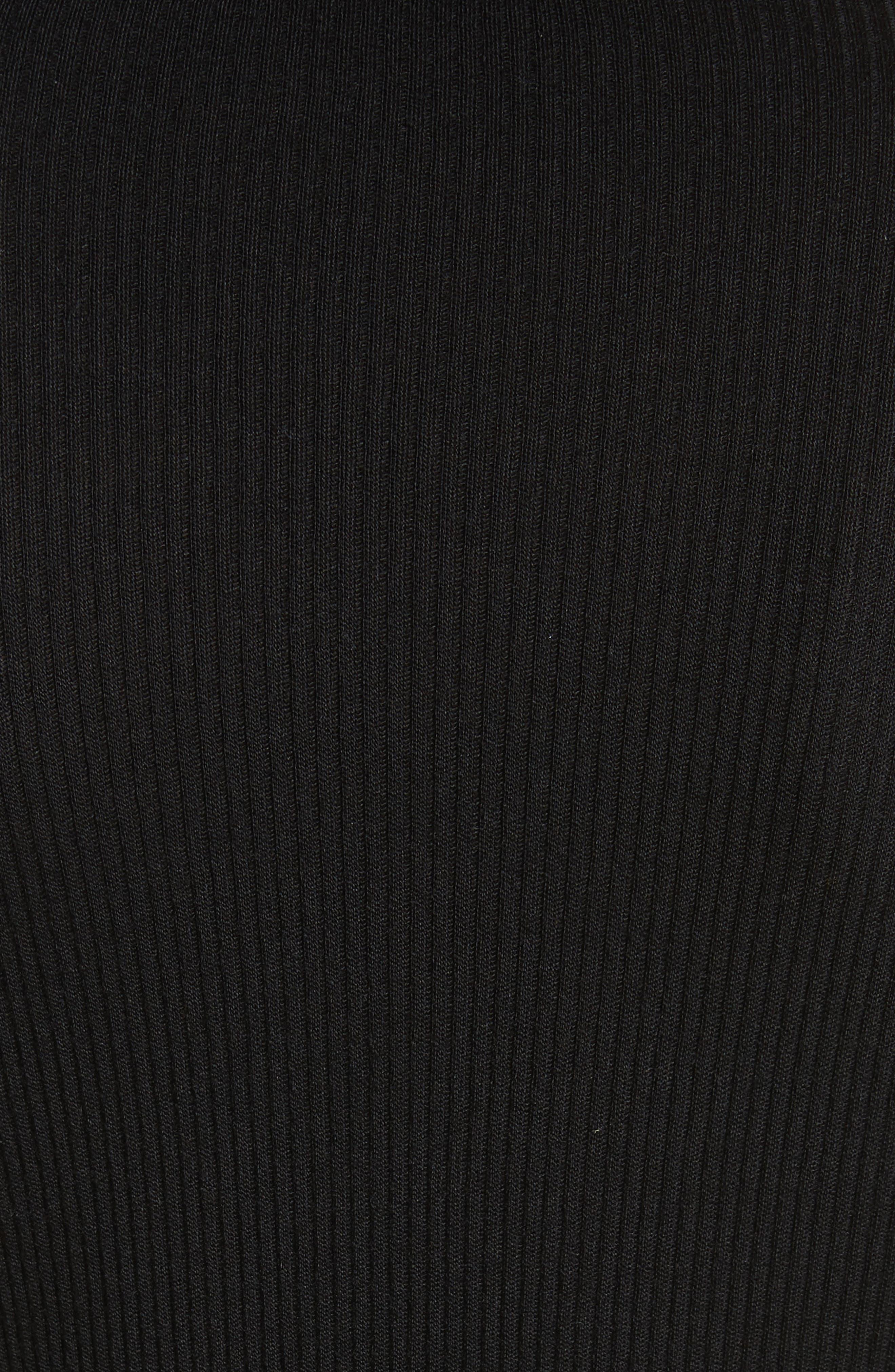 Ribbed Wool Blend Cardigan,                             Alternate thumbnail 5, color,                             Black