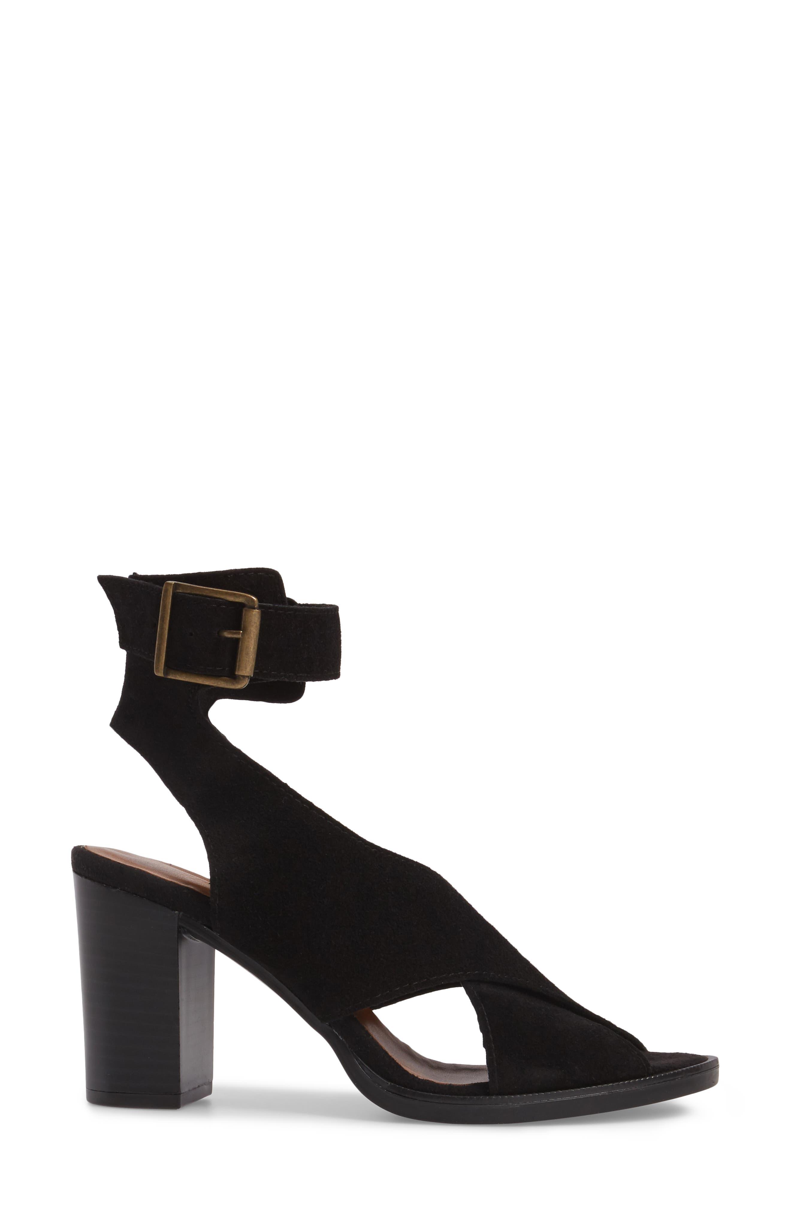 Lil Ankle Wrap Sandal,                             Alternate thumbnail 3, color,                             Black Suede