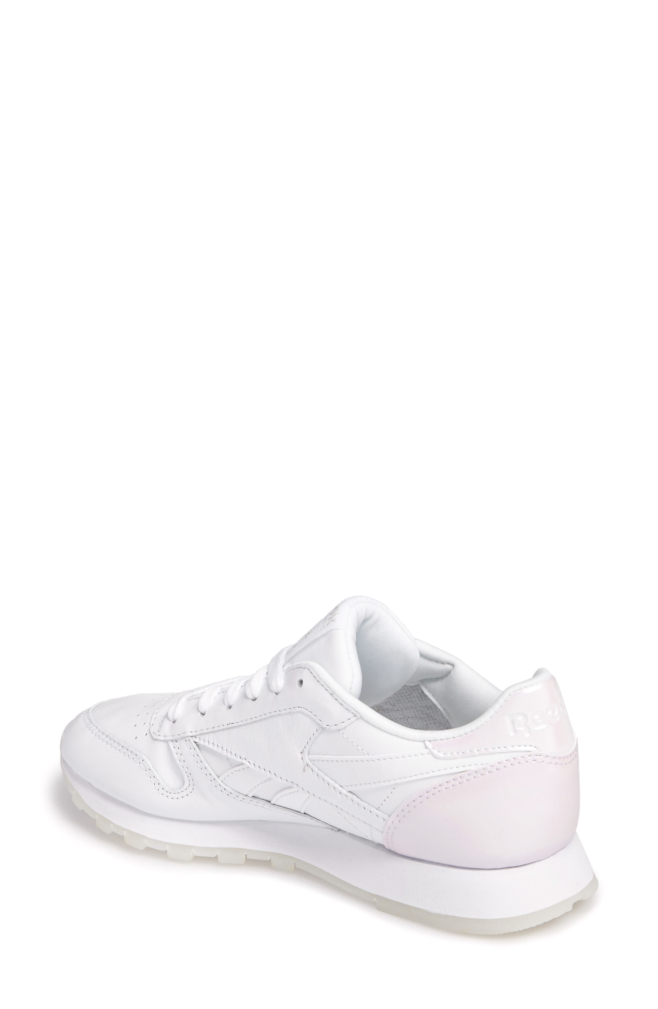 Classic Leather Sneaker,                             Alternate thumbnail 2, color,                             White/ White/ Ice Pearl