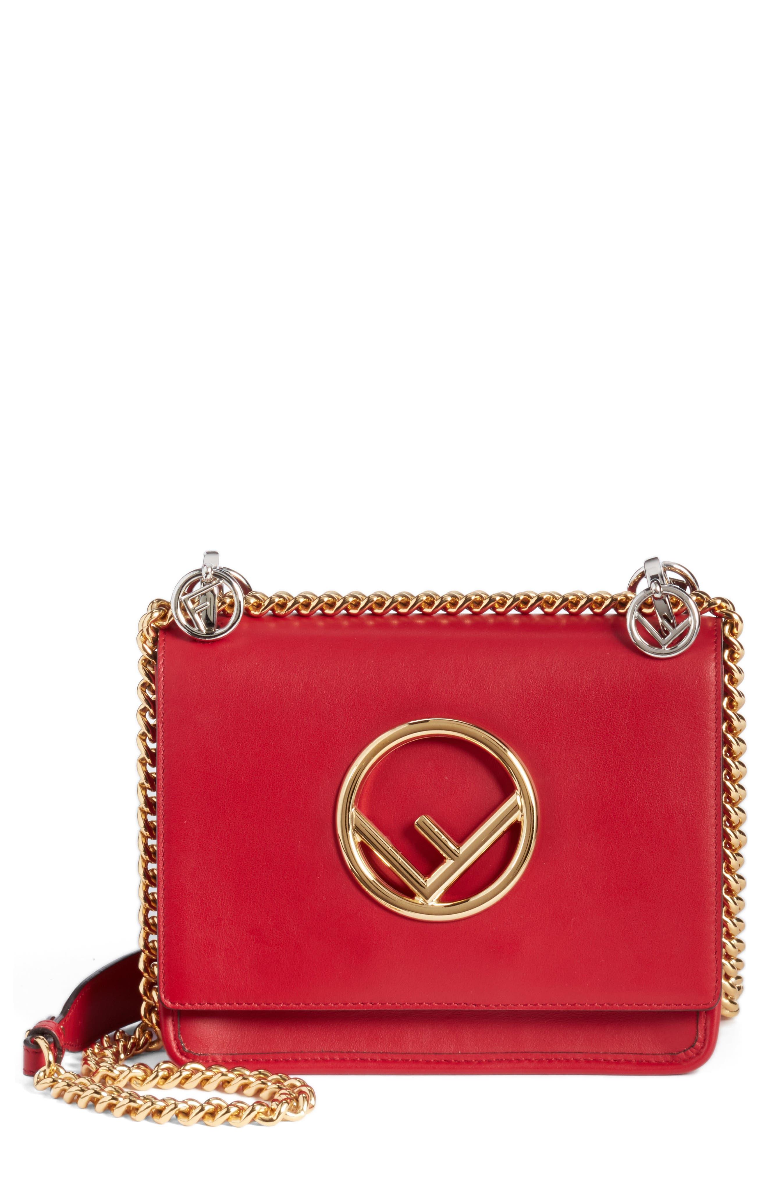 Fendi Kan I Calfskin Leather Shoulder Bag