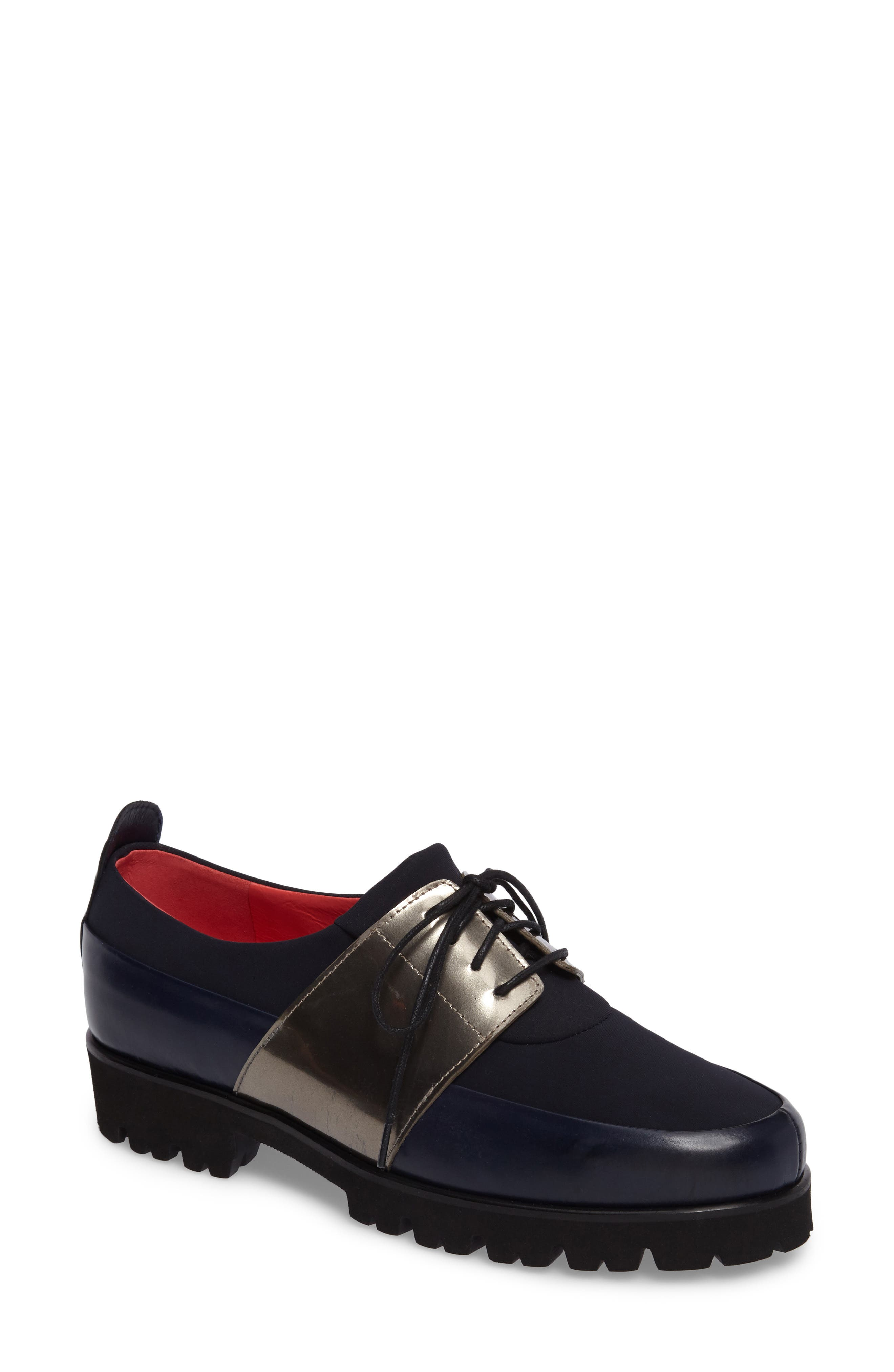 Lace-Up Oxford,                             Main thumbnail 1, color,                             Ink Leather