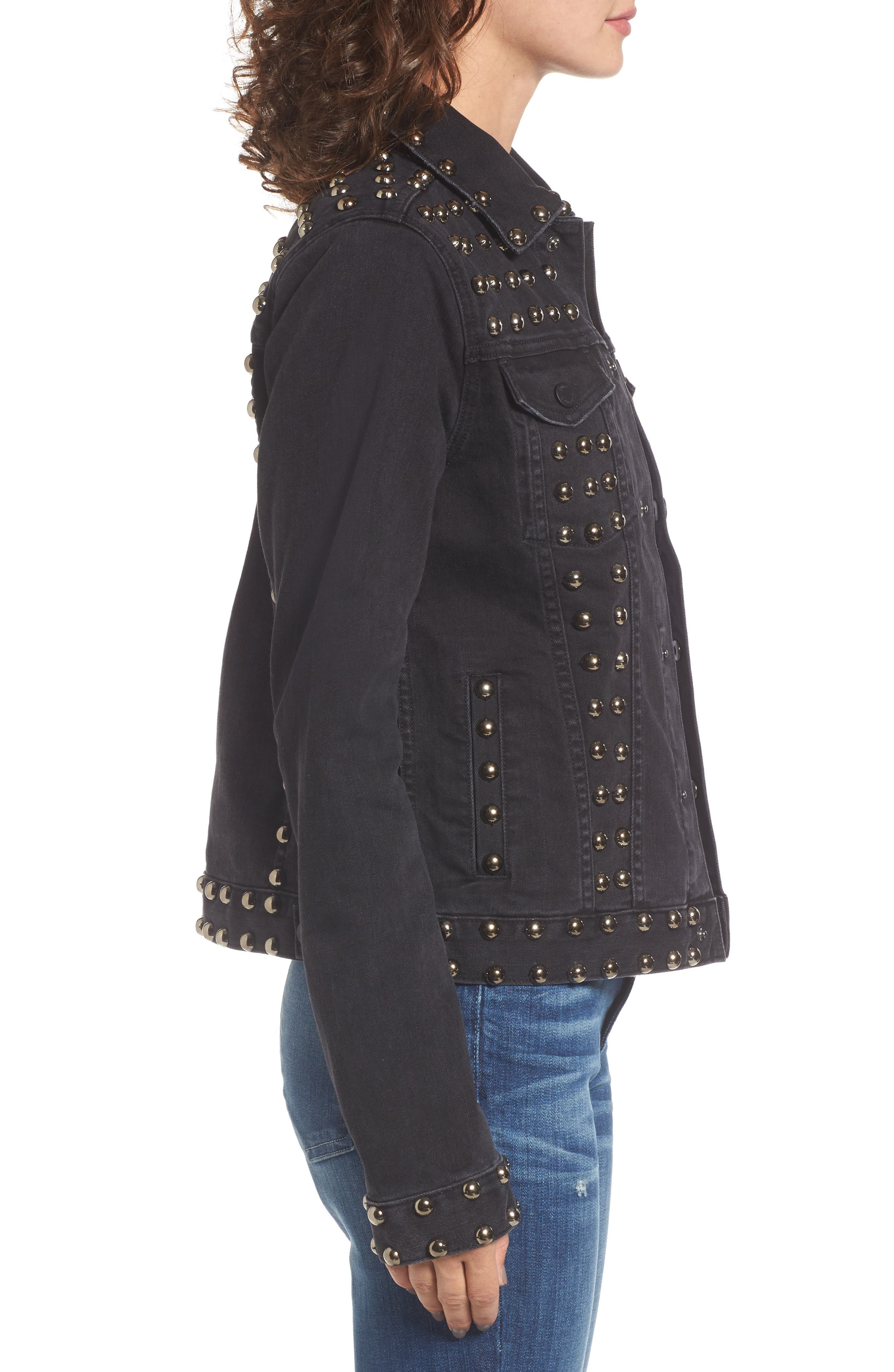 Studded Denim Jacket,                             Alternate thumbnail 3, color,                             Ebony Wash