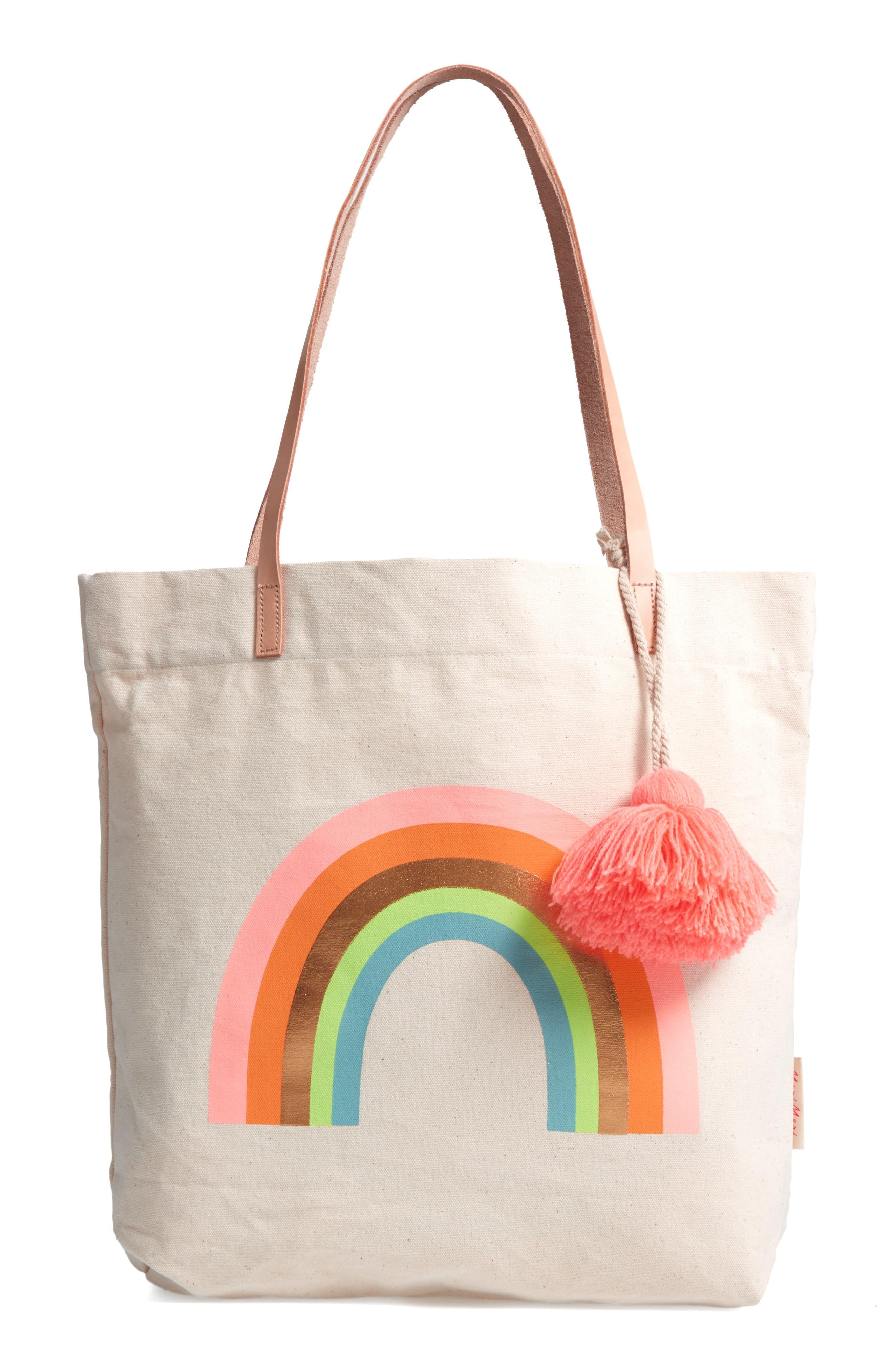 Rainbow Canvas Tote,                         Main,                         color, Cream Multi